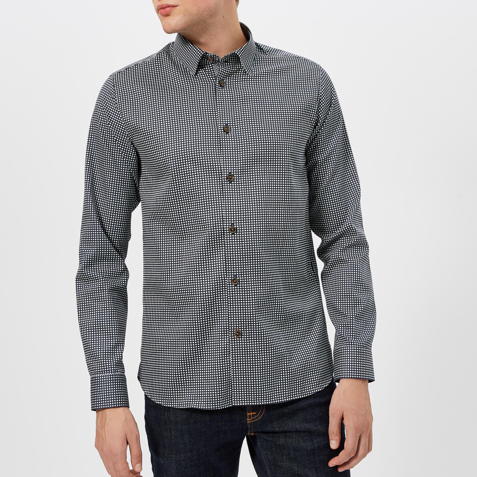 Mens Superdry Geo Print Long Sleeve Tee Grey | Long sleeve