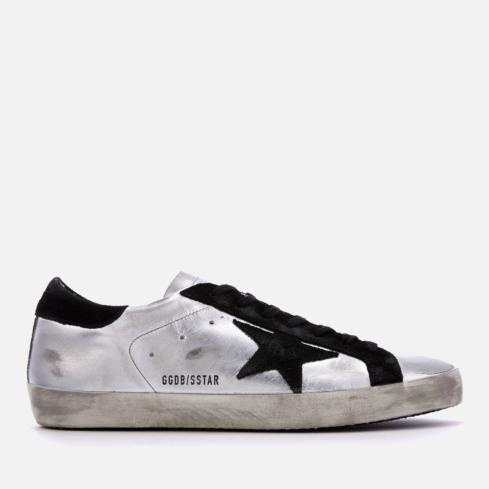 ebd117ae09ea Golden Goose Deluxe Brand Men s Superstar Sneakers - Silver Black Leather -  Free UK Delivery over £50