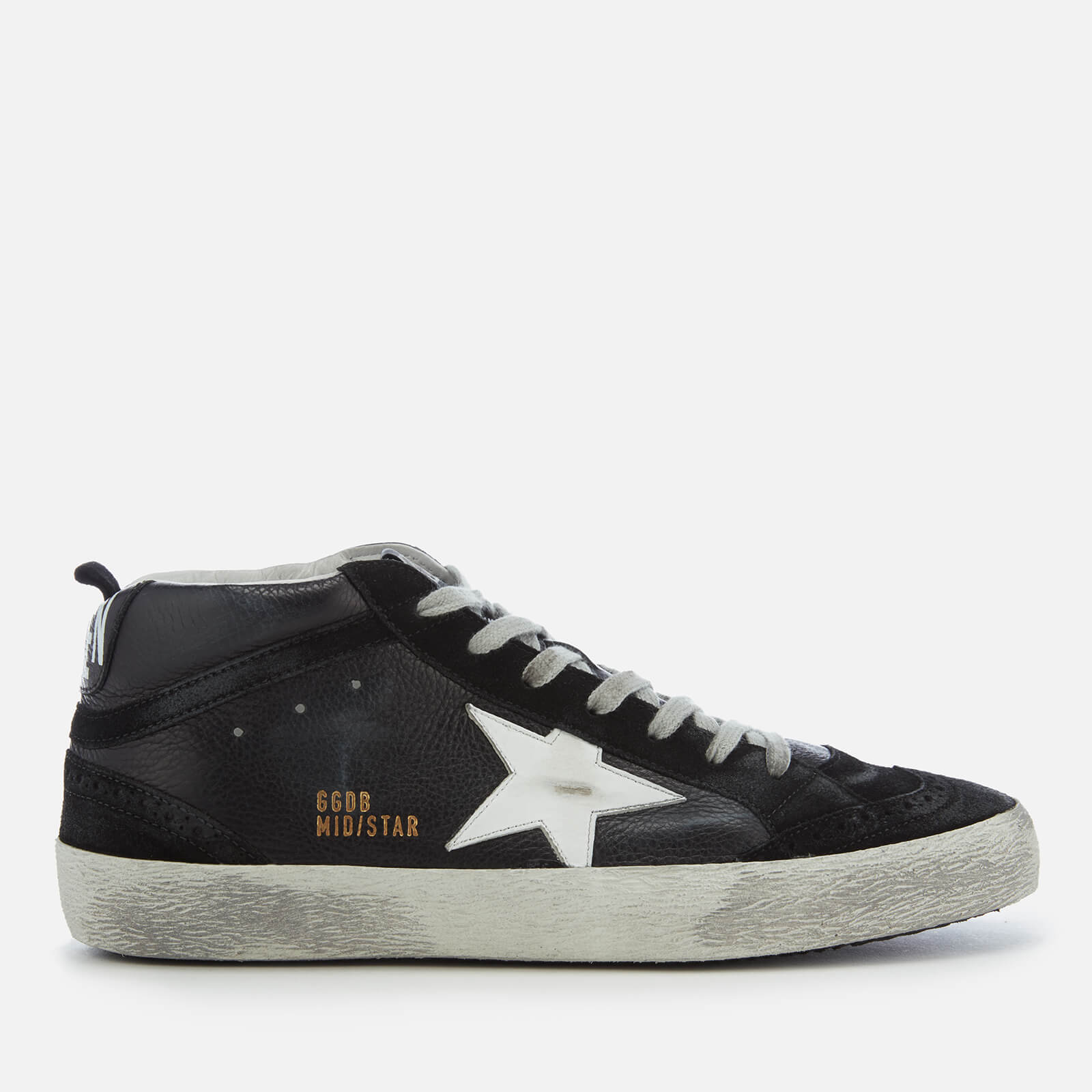 bcc42735c Golden Goose Deluxe Brand Men's Mid Star Sneakers - Black Leather/White Star  - Free UK Delivery over £50