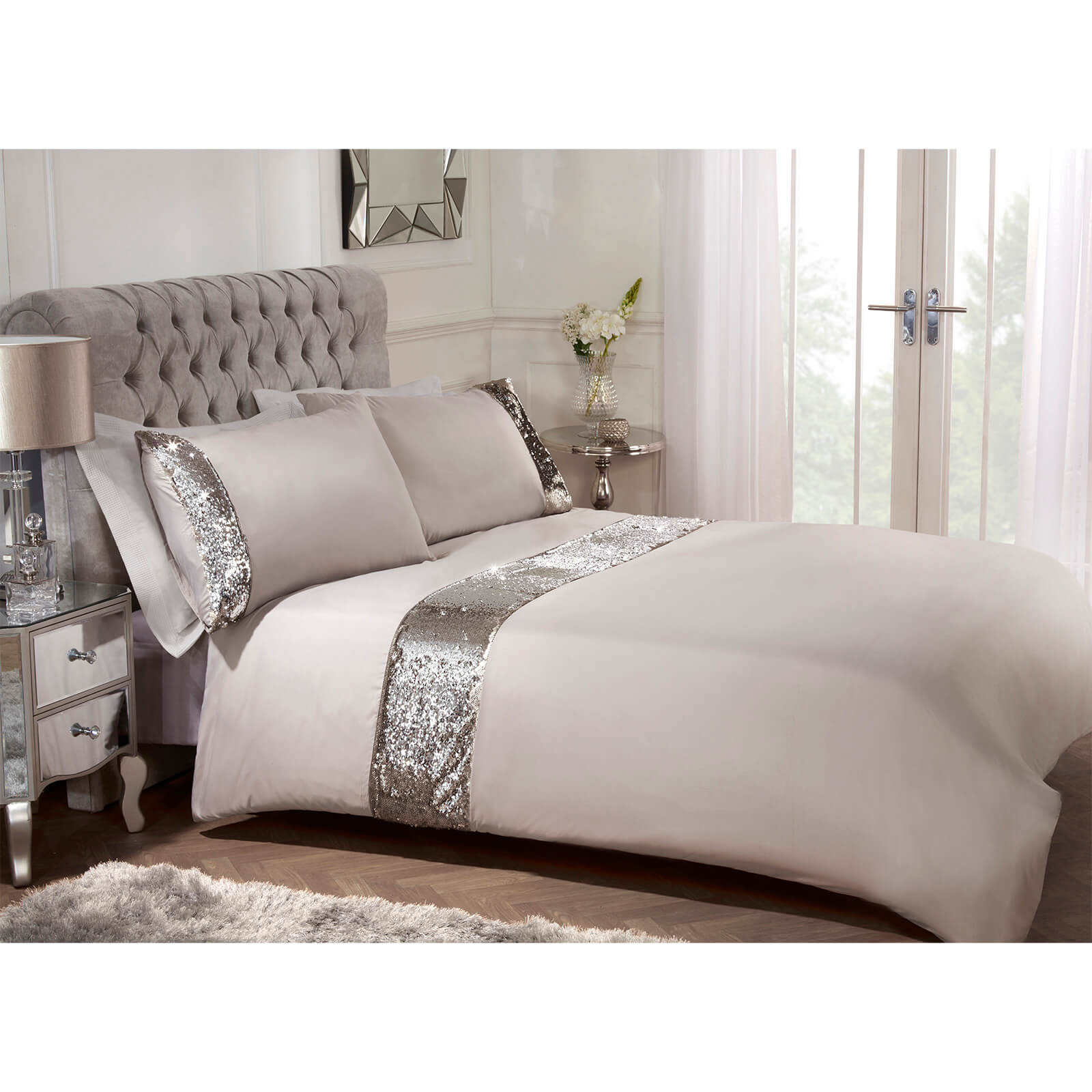 Sienna Mermaid Sequin Duvet Set - Stone