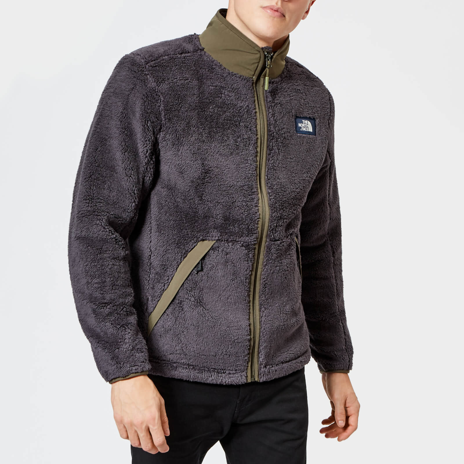 70b6a2c4e825 The North Face Men s Campshire Full Zip Pile Fleece - Weathered Black New  Taupe Green Mens Clothing