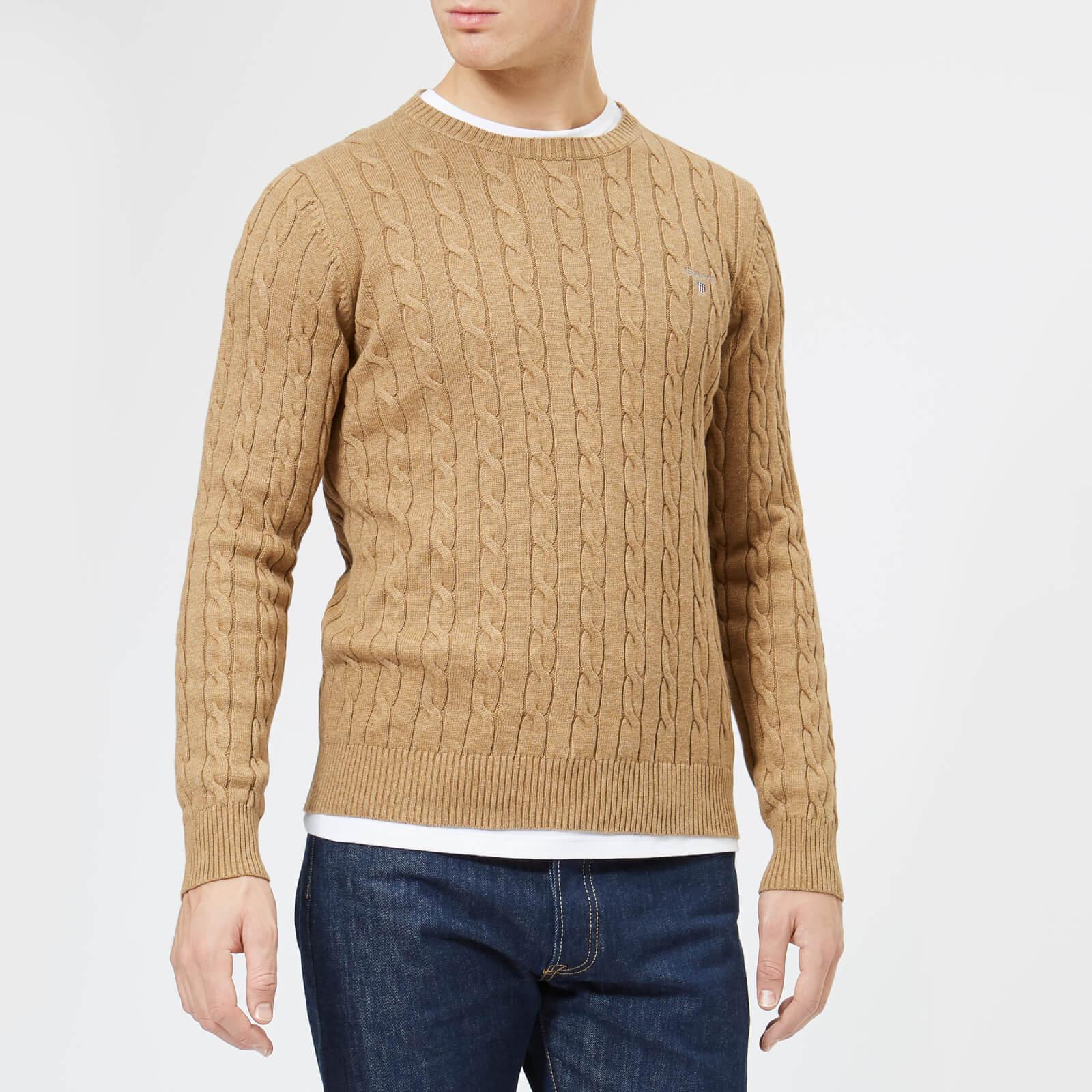 6674d4472c15b2 GANT Men's Cotton Cable Crew Knitted Jumper - Dark Sand Melange Mens  Clothing | TheHut.com