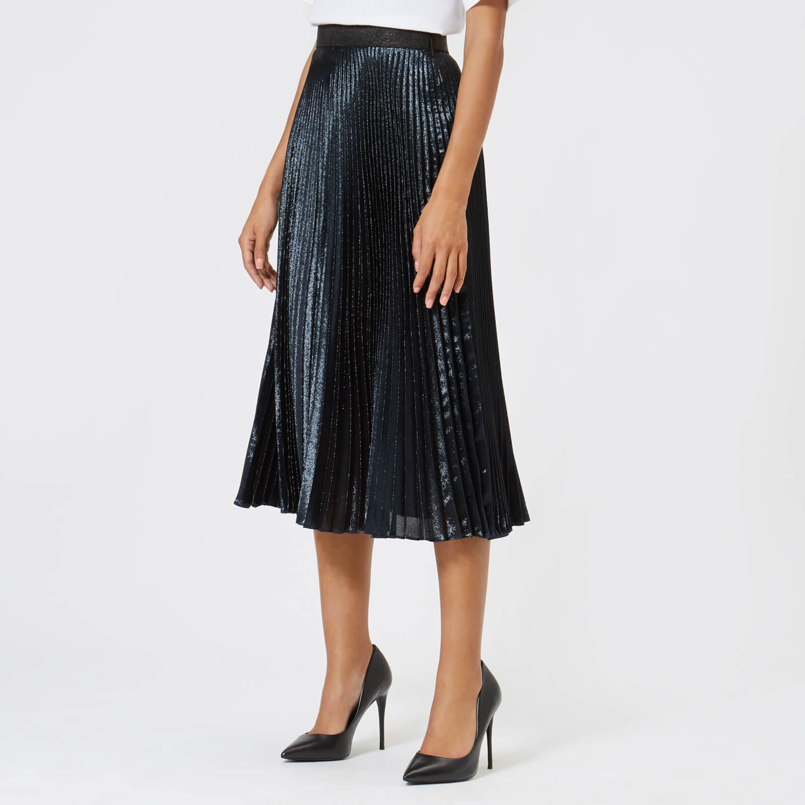 21a57bd67 Christopher Kane Women's Lamé Pleated Skirt - Navy - Free UK Delivery over  £50