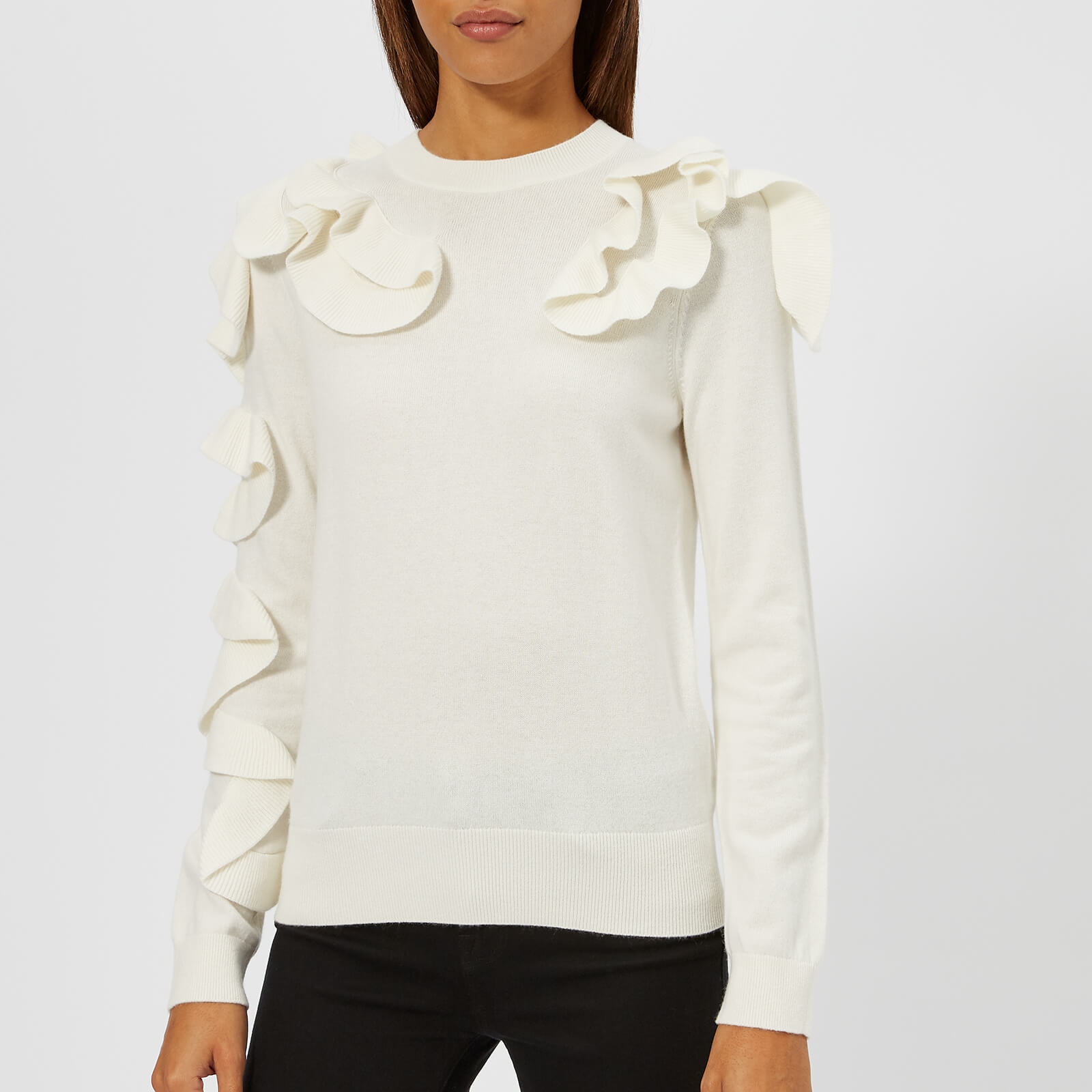 444e76d53 Ted Baker Women s Pallege Frill Sleeve and Shoulder Jumper - Ivory ...