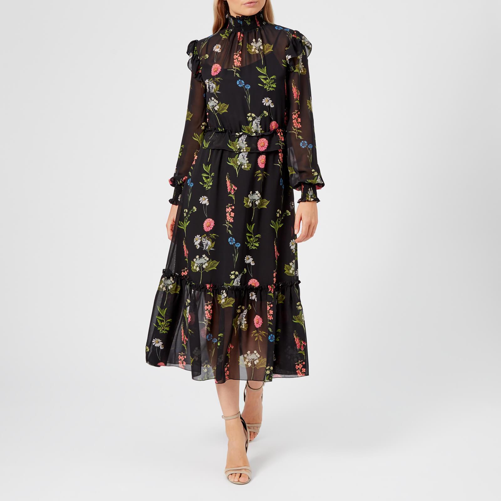 Baker Qugzvmsp Florence Dress Black Women's Midi Simarra Long Sleeve Ted yvf6Yb7Ig