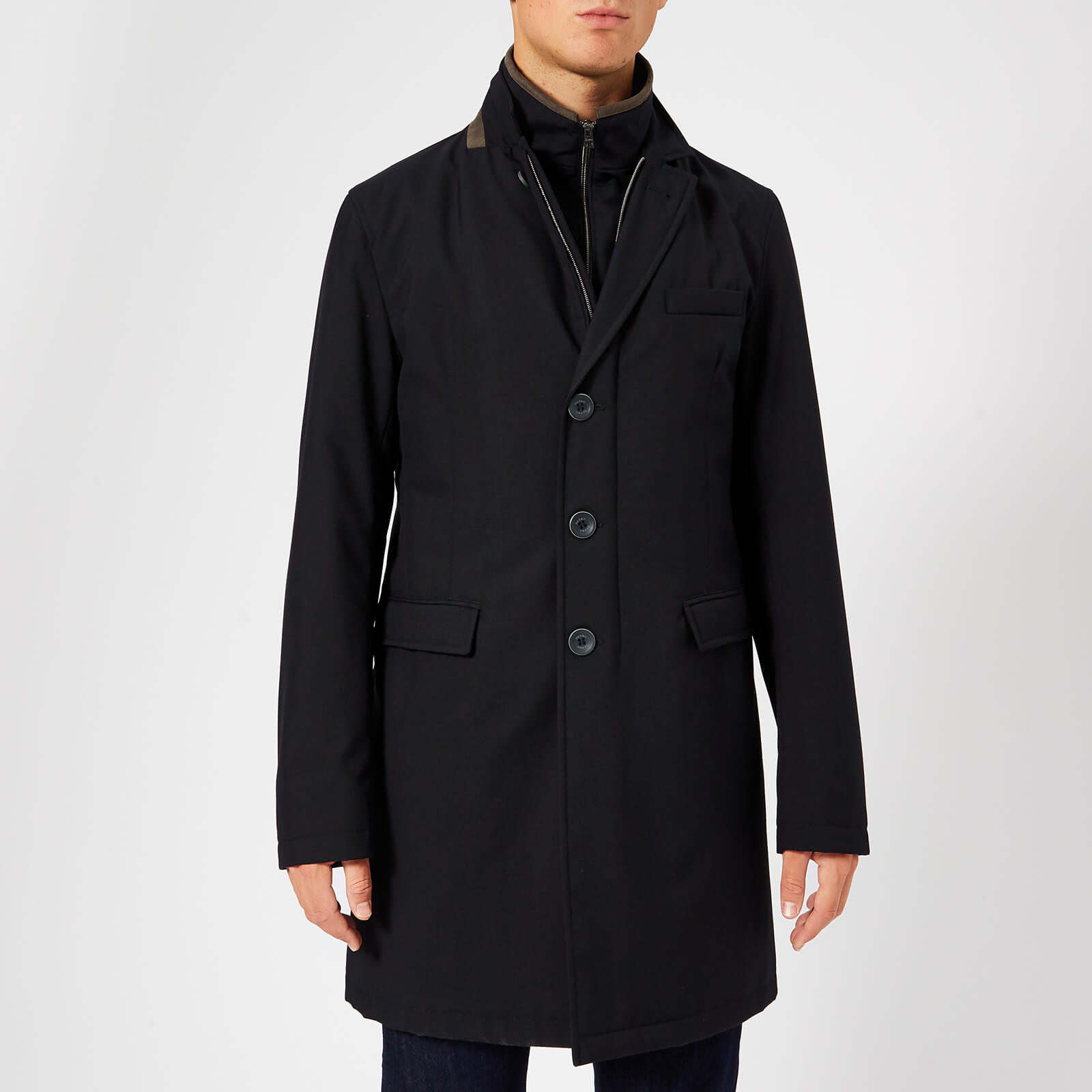 862d5bd7e6d Herno Men s Classic Single Breasted Over Coat - Navy - Free UK Delivery  over £50