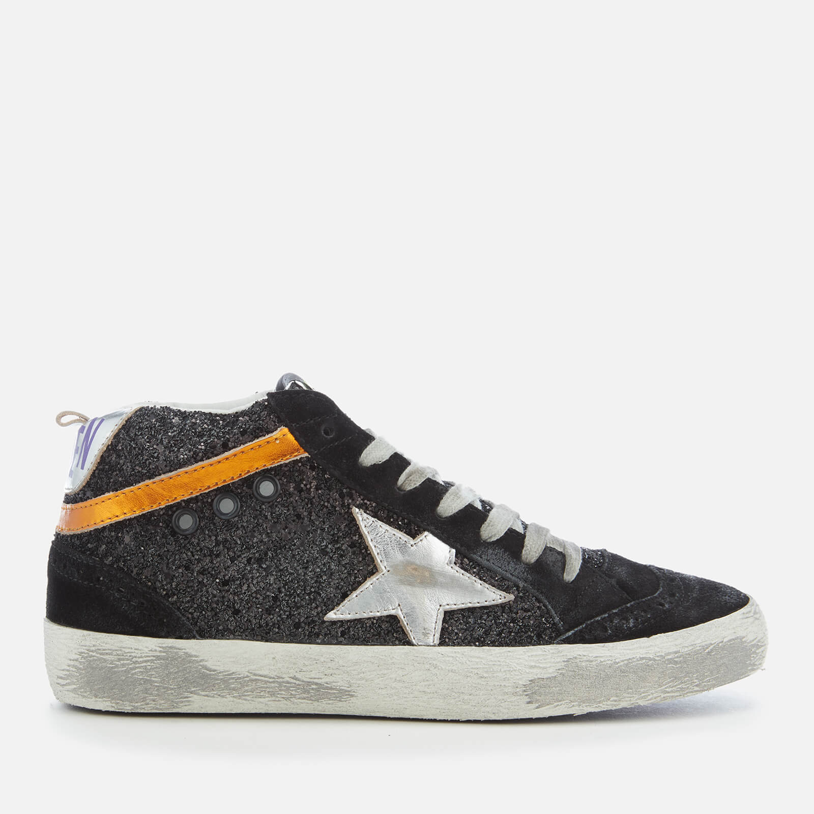 f0fad3f787415 Golden Goose Deluxe Brand Women s Mid Star Trainers - Black Glitter Silver  Star - Free UK Delivery over £50