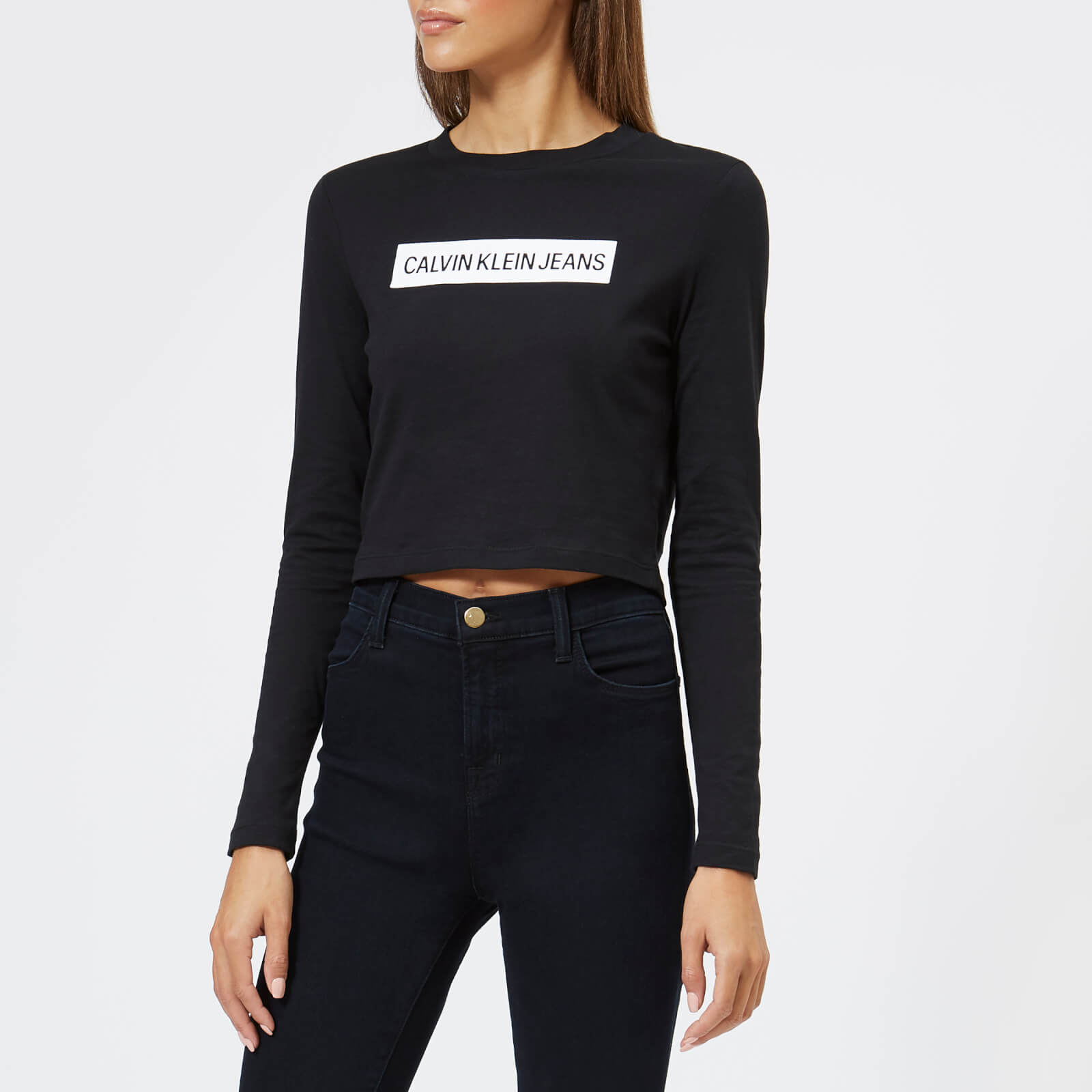 449b43d8 Calvin Klein Women's Institutional Box Cropped Fit T-Shirt - Black Womens  Clothing | TheHut.com