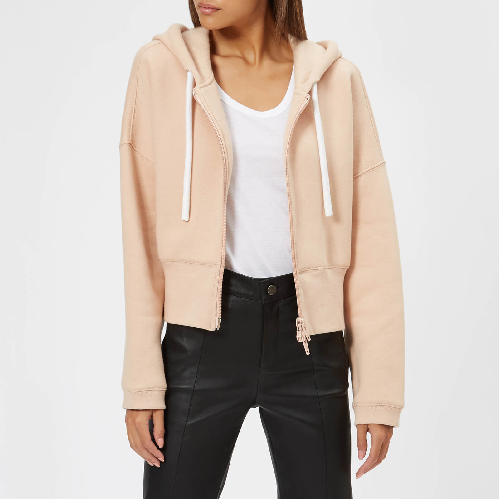 3c8baef0a396e T by Alexander Wang Women s Heavy French Terry Cardigan Sweatshirt -  Apricot - Free UK Delivery over £50