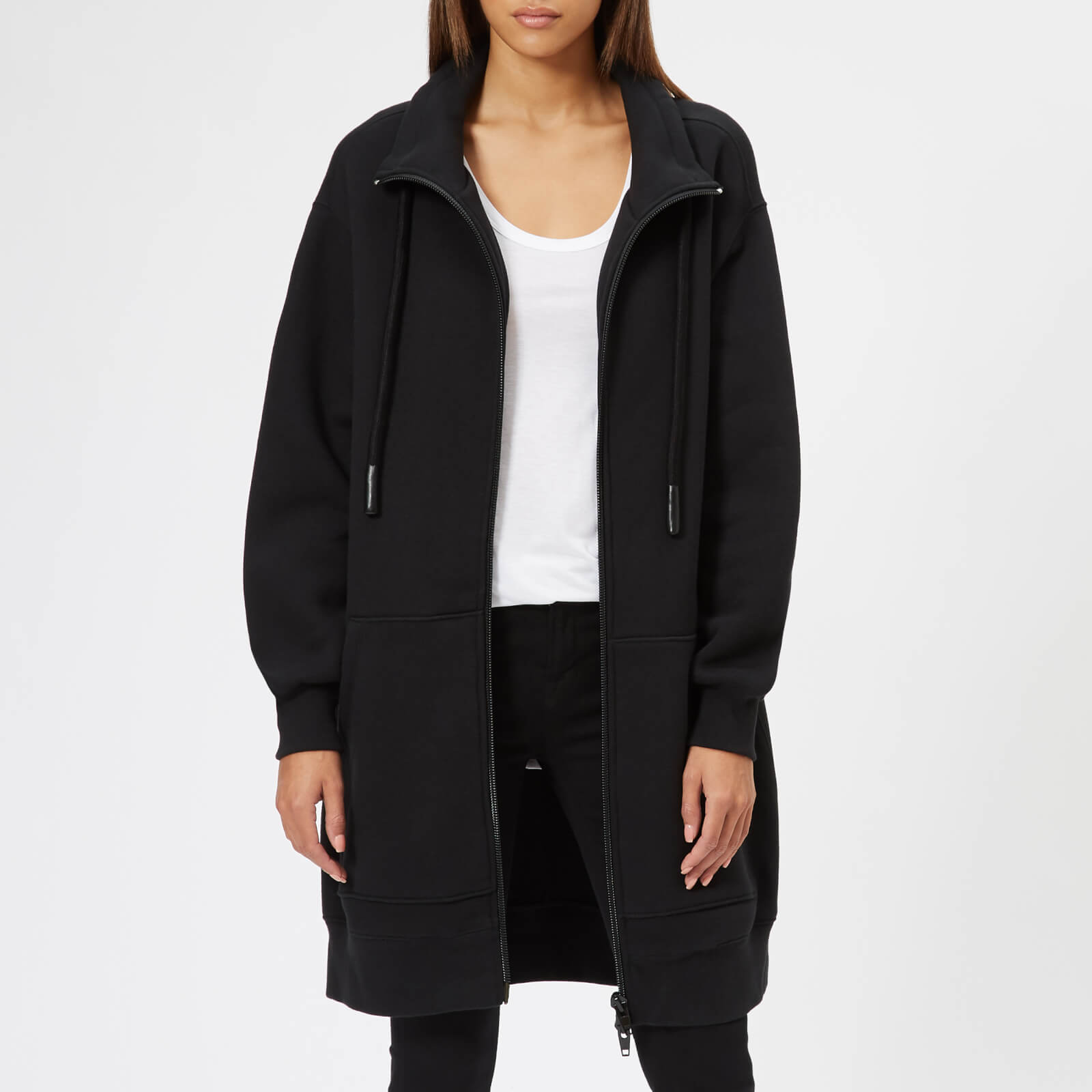 34179c6f55dc T by Alexander Wang Women s Heavy French Terry Oversized Full-Zip Sweatshirt  - Black - Free UK Delivery over £50