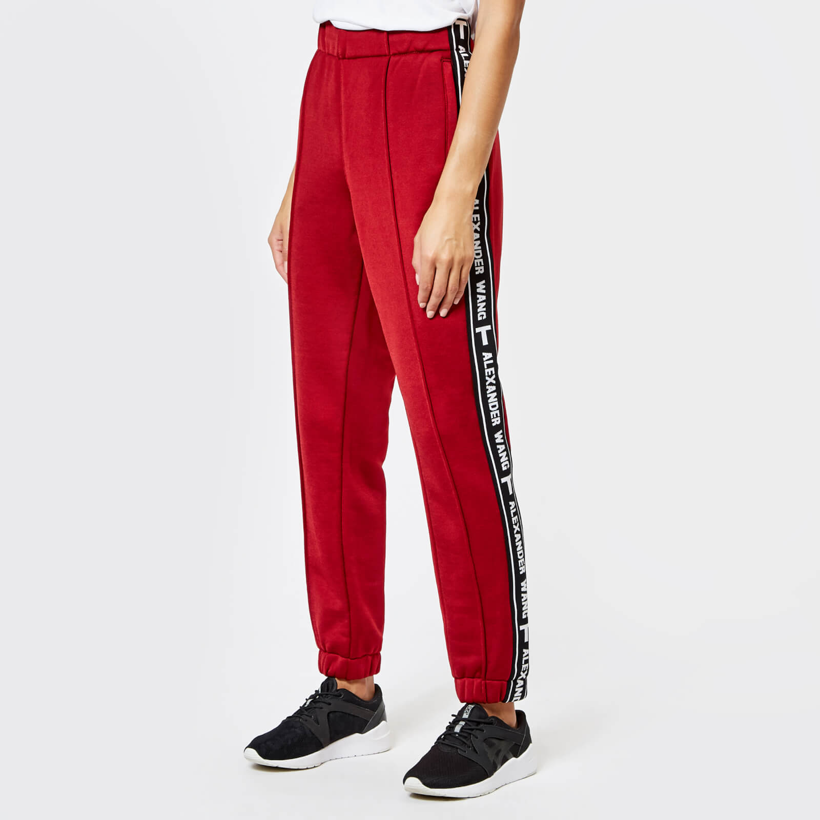 T by Alexander Wang Women's Sleek French Terry Pull-On Track Pants with  Logo Tape - Lipstick
