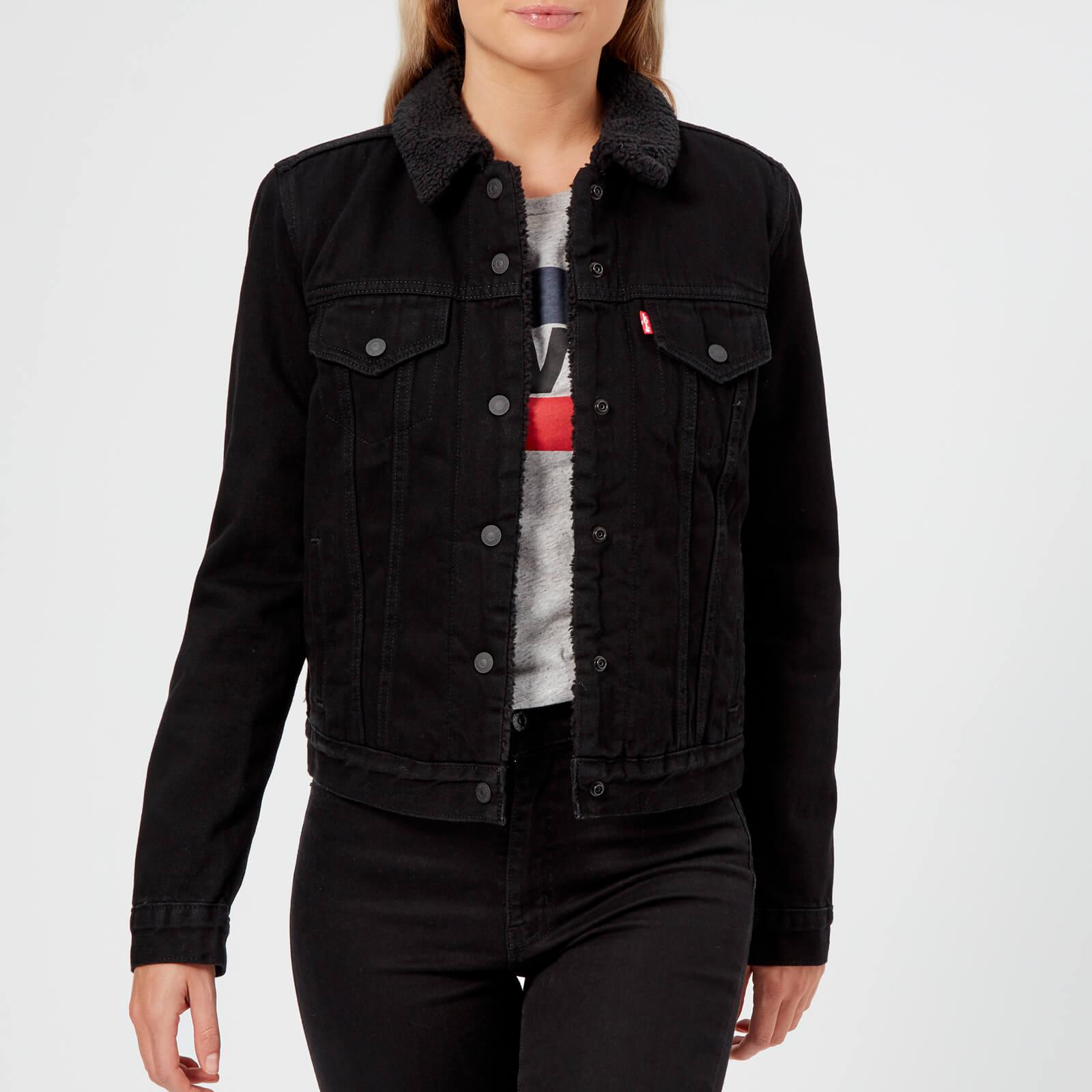 334492742103 Levi's Women's Original Sherpa Trucker Jacket - Black Womens Clothing |  TheHut.com