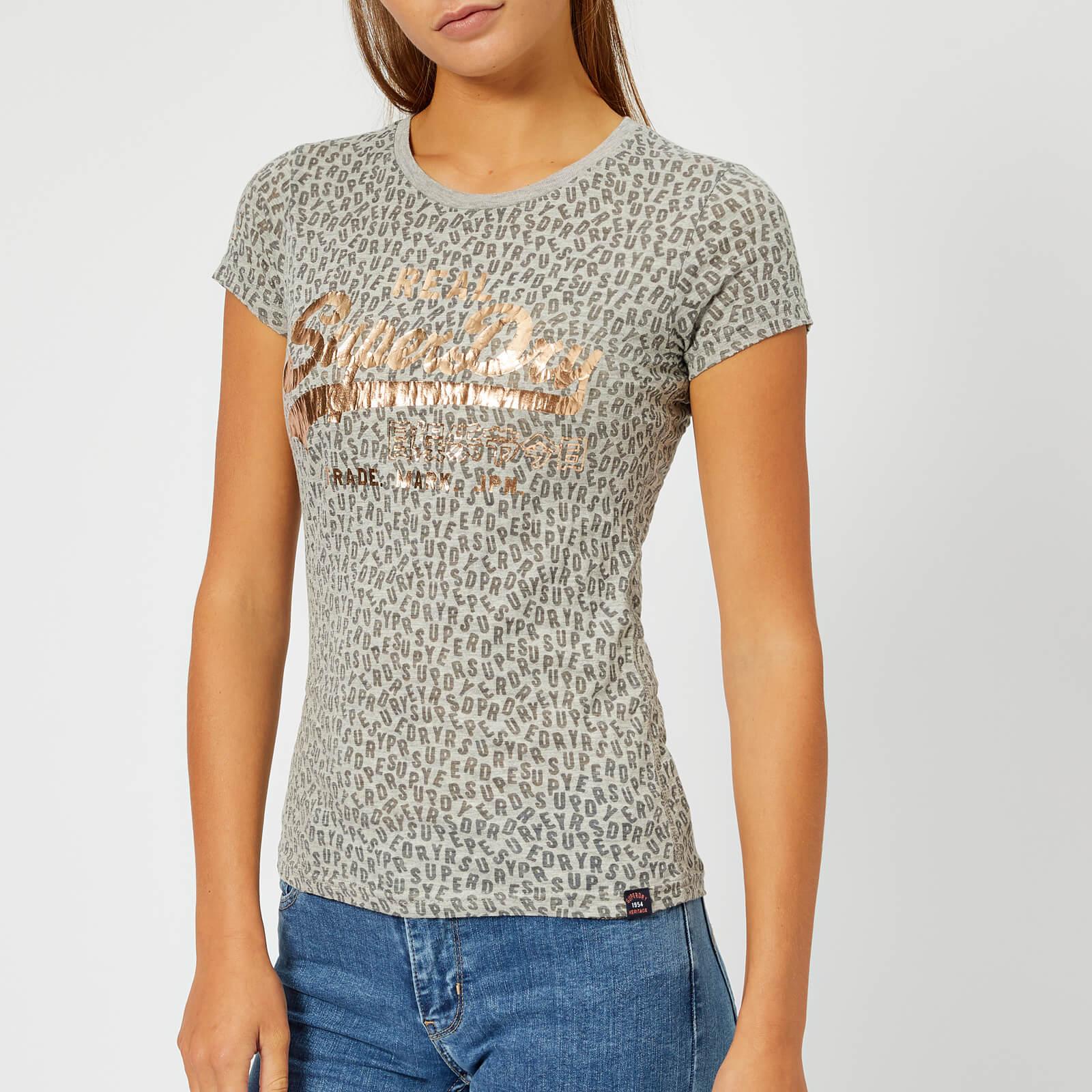 21ee3f45 Superdry Women's Vintage Logo Aop Burn Out Entry T-Shirt - Grey Marl Womens  Clothing | TheHut.com