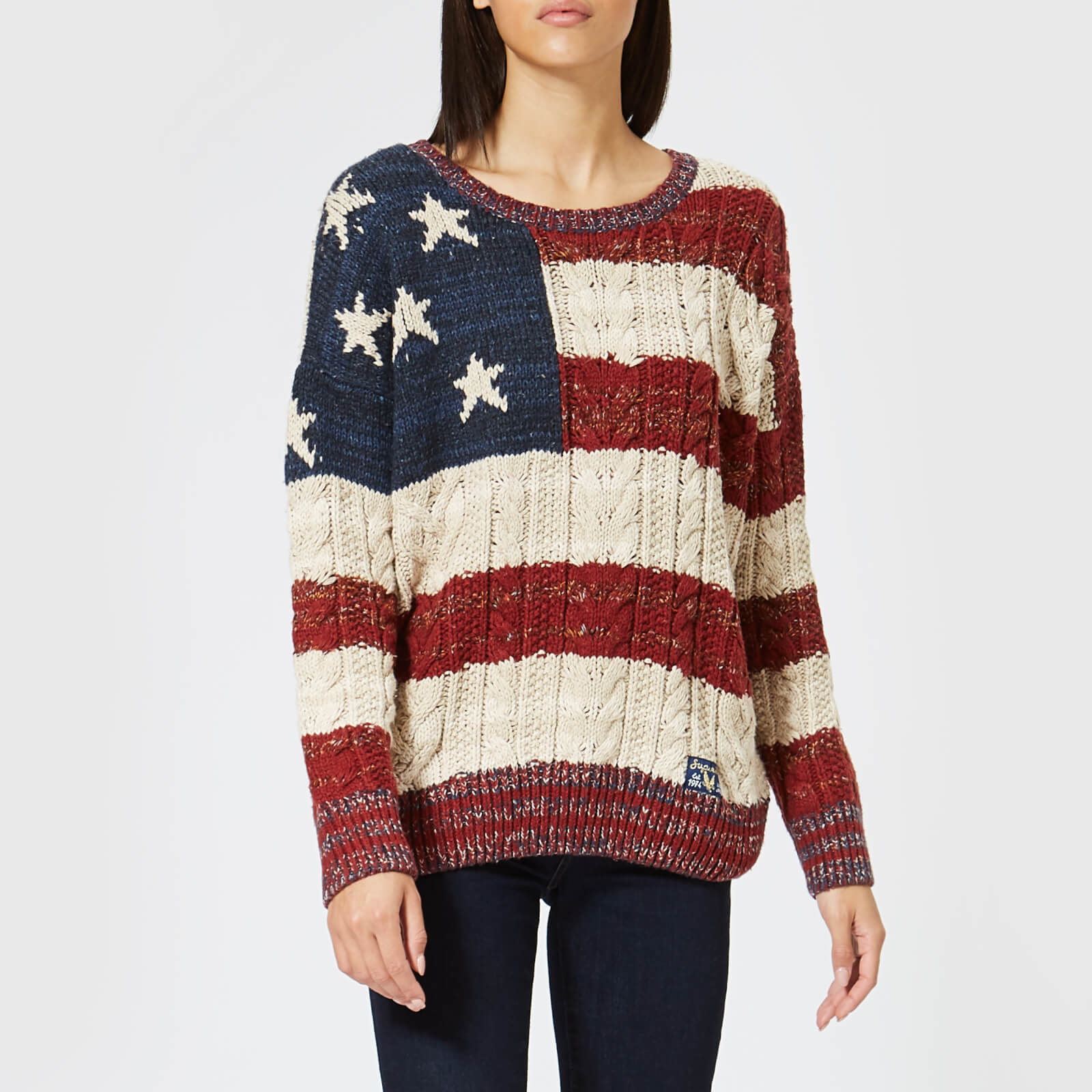 70f48d4cd Superdry Women s Americana Cable Knit Jumper - Navy Burnt Red Ecru Womens  Clothing