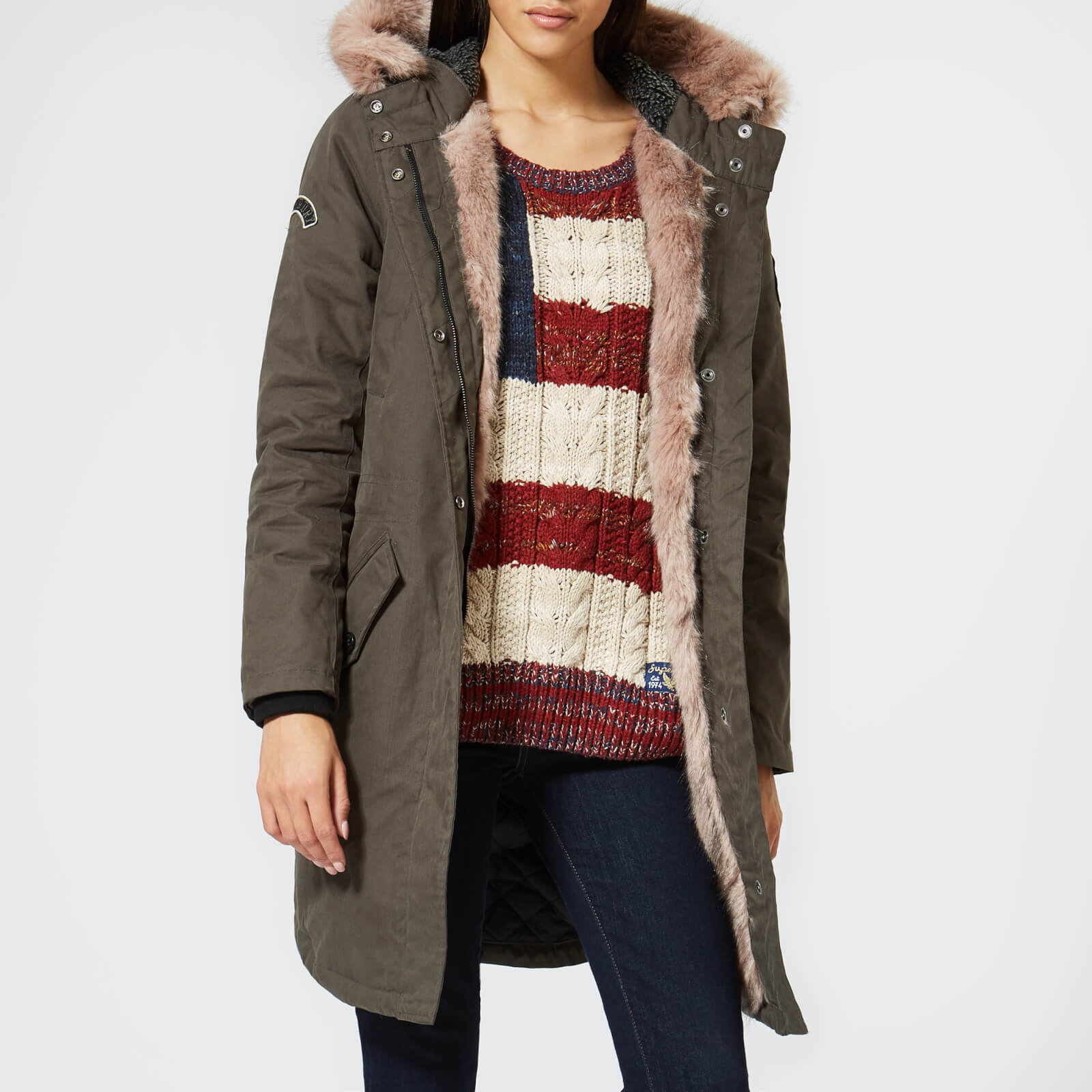 look for new style & luxury shop for authentic Superdry Women's Frankie Faux Fur Lined Parka - Khaki