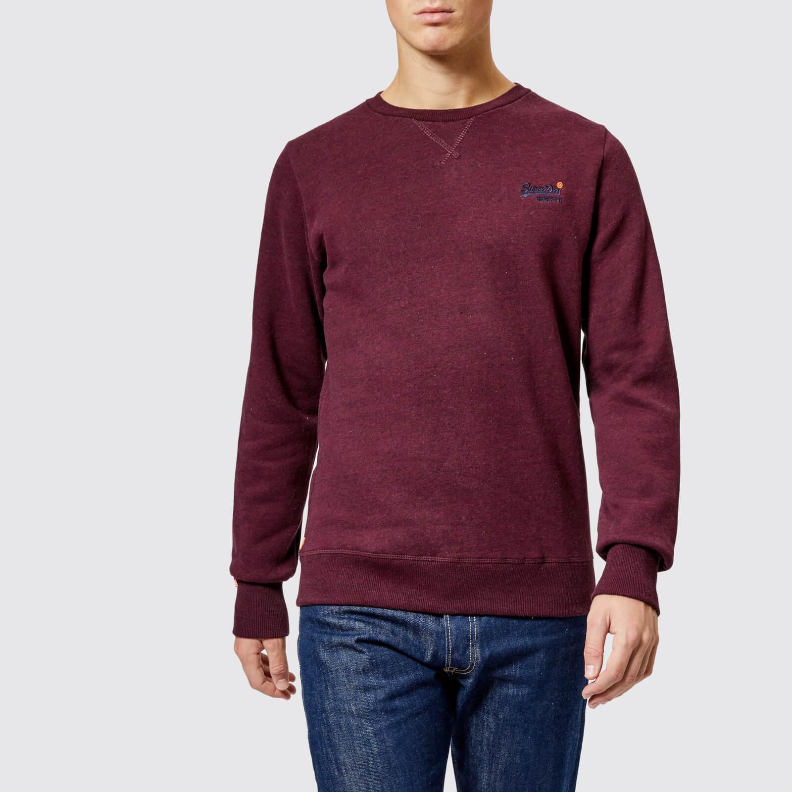 XXXL S Superdry Orange Label Sweatshirt Crew Neck Boston Burgundy Grit Sizes
