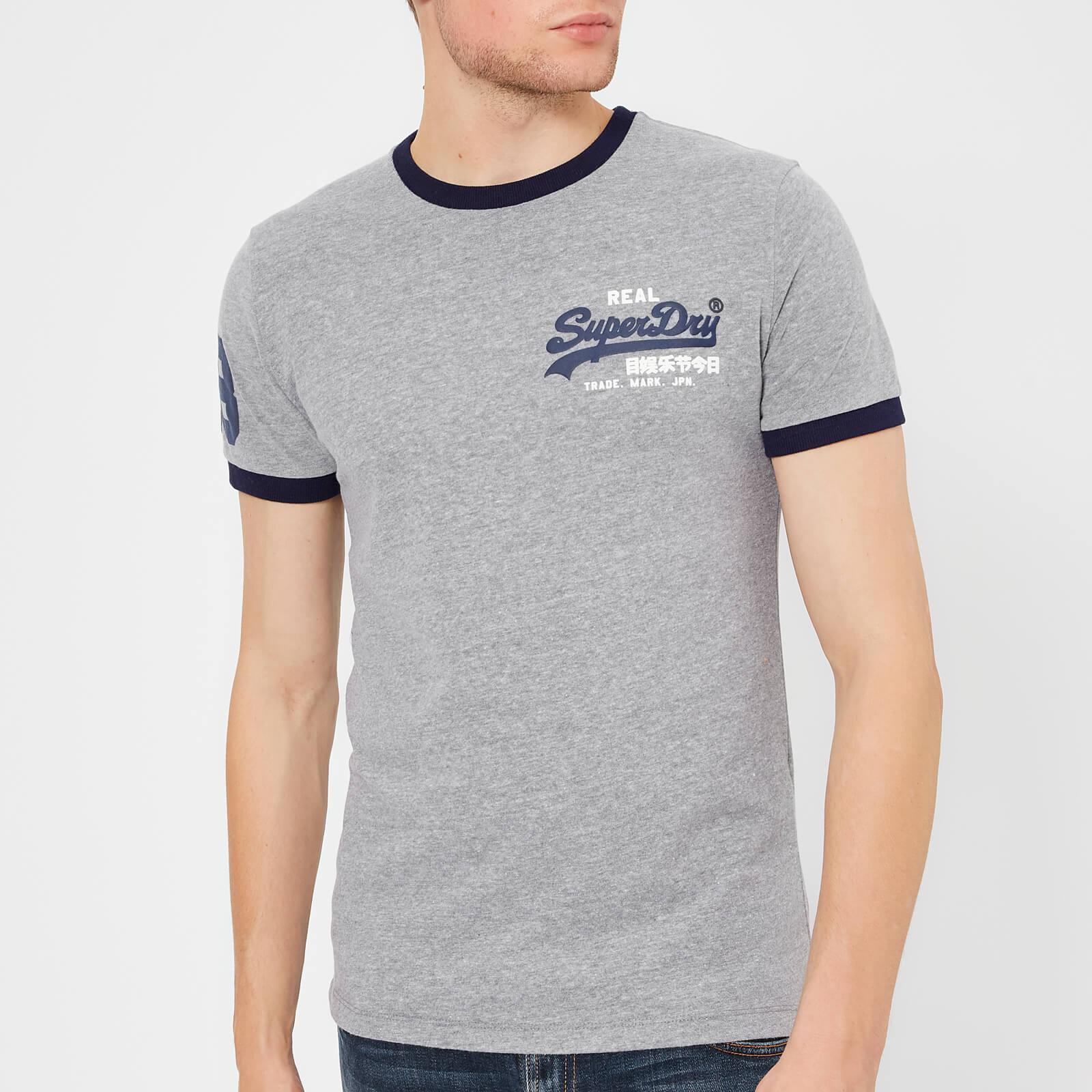 82e9ea84 Superdry Men's Vintage Logo Ringer T-Shirt - Blizzard Grey Marl Clothing |  TheHut.com