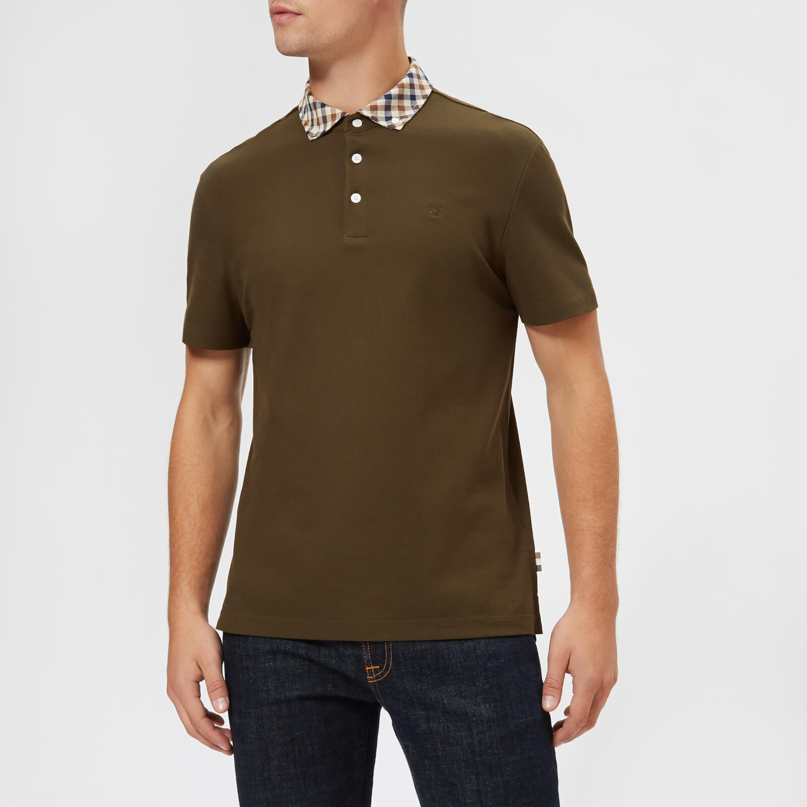 8cfd7cefb Aquascutum Men's Coniston Short Sleeve Club Check Collar Polo Shirt -  Military Green - Free UK Delivery over £50