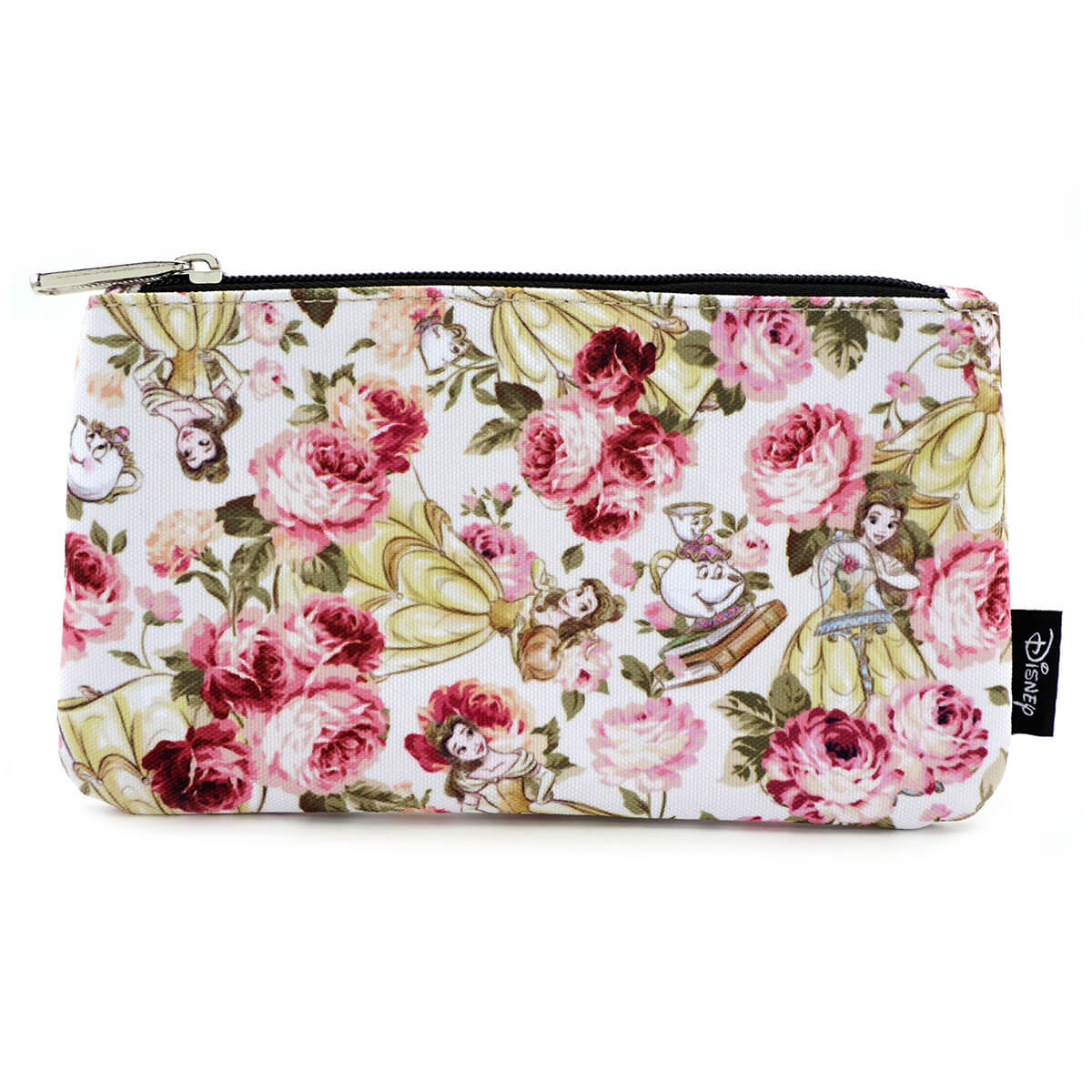 352cd61c68b7 Loungefly Disney Beauty and the Beast Character Floral AOP Pencil Case.  Description