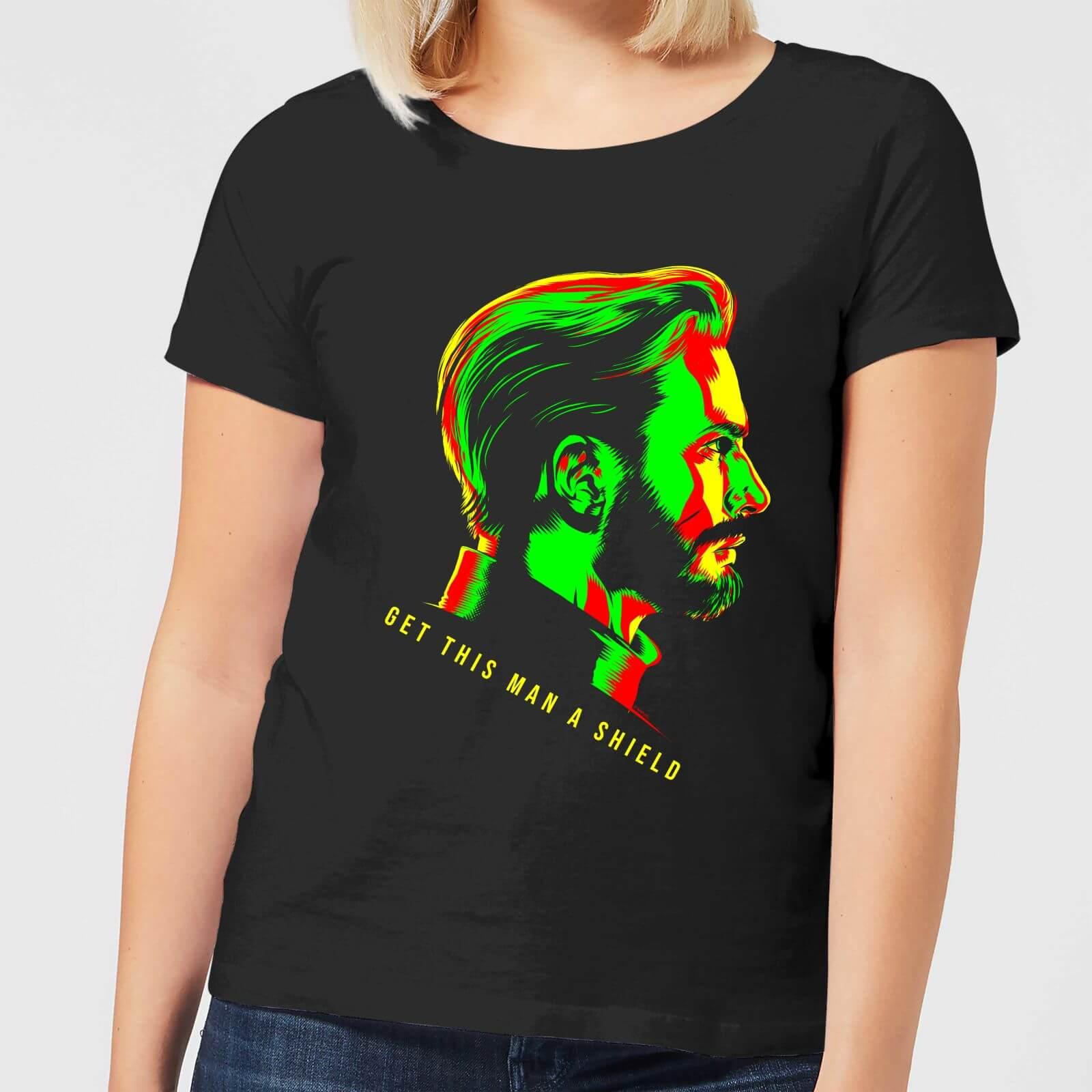 Camiseta Mujer Perfil Capitán Vengadores Negro América R5L34Aj