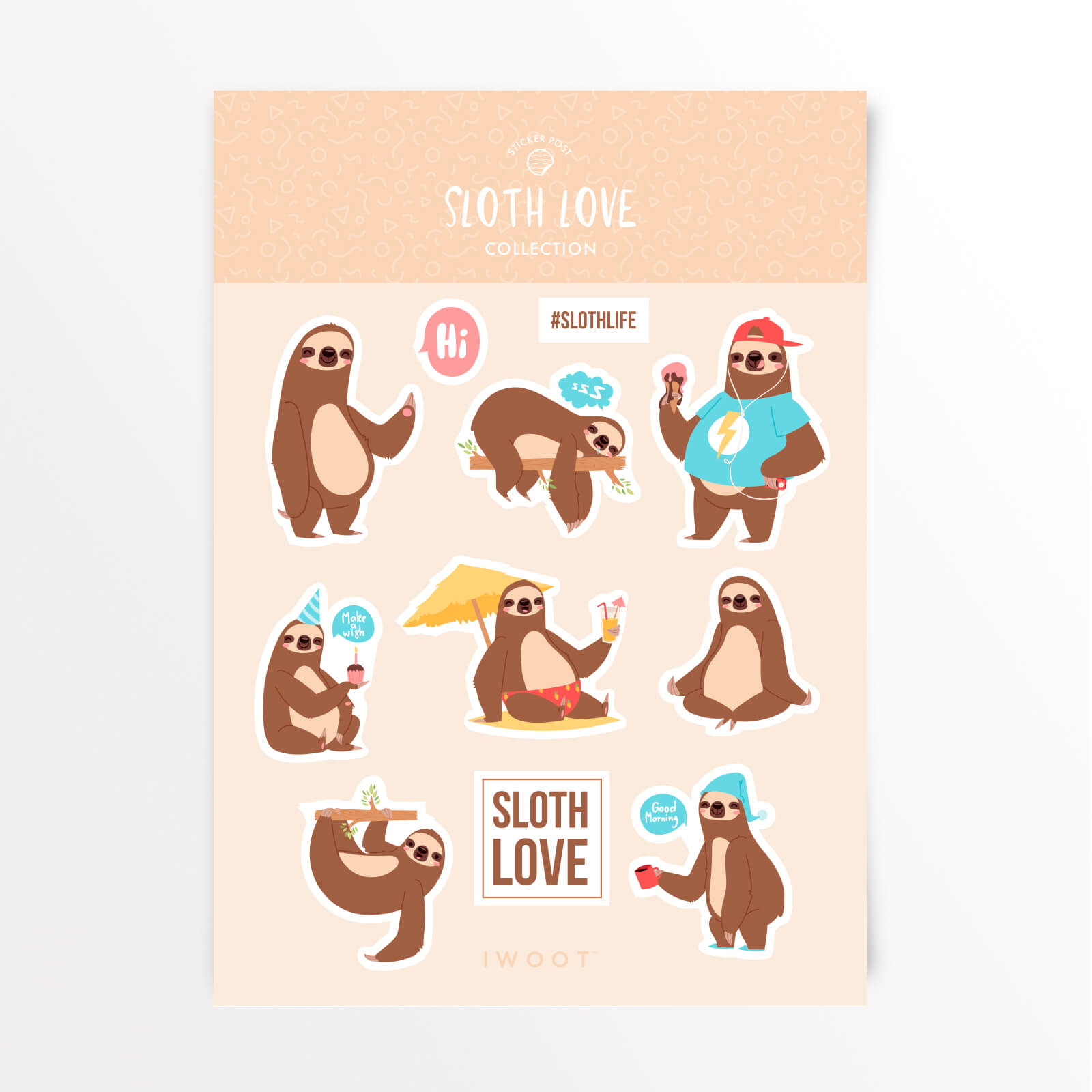 Sloth love sticker pack iwoot