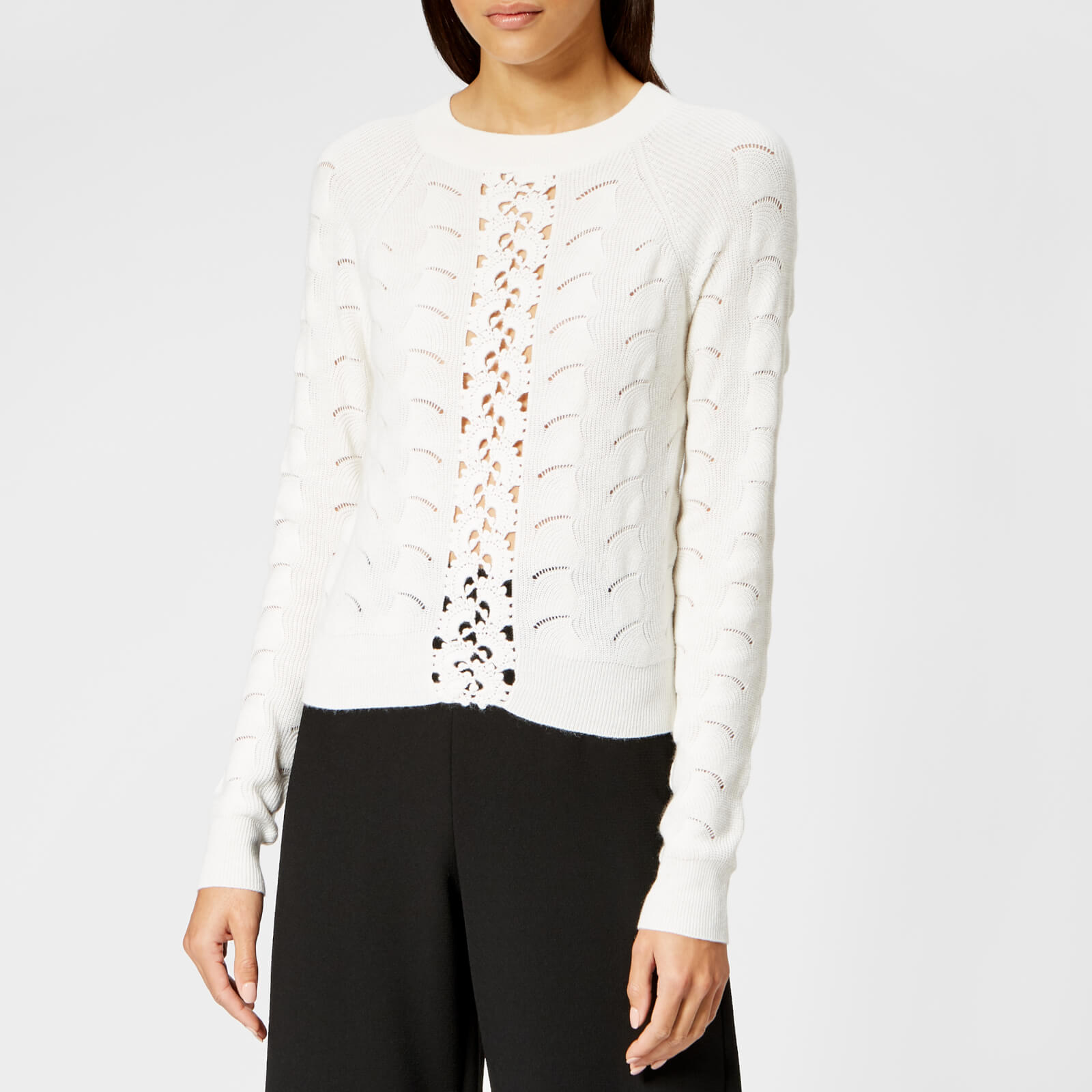 See By Chloé Women s Lace Crochet Knitted Jumper - Crystal White - Free UK  Delivery over £50 9c3e509a3