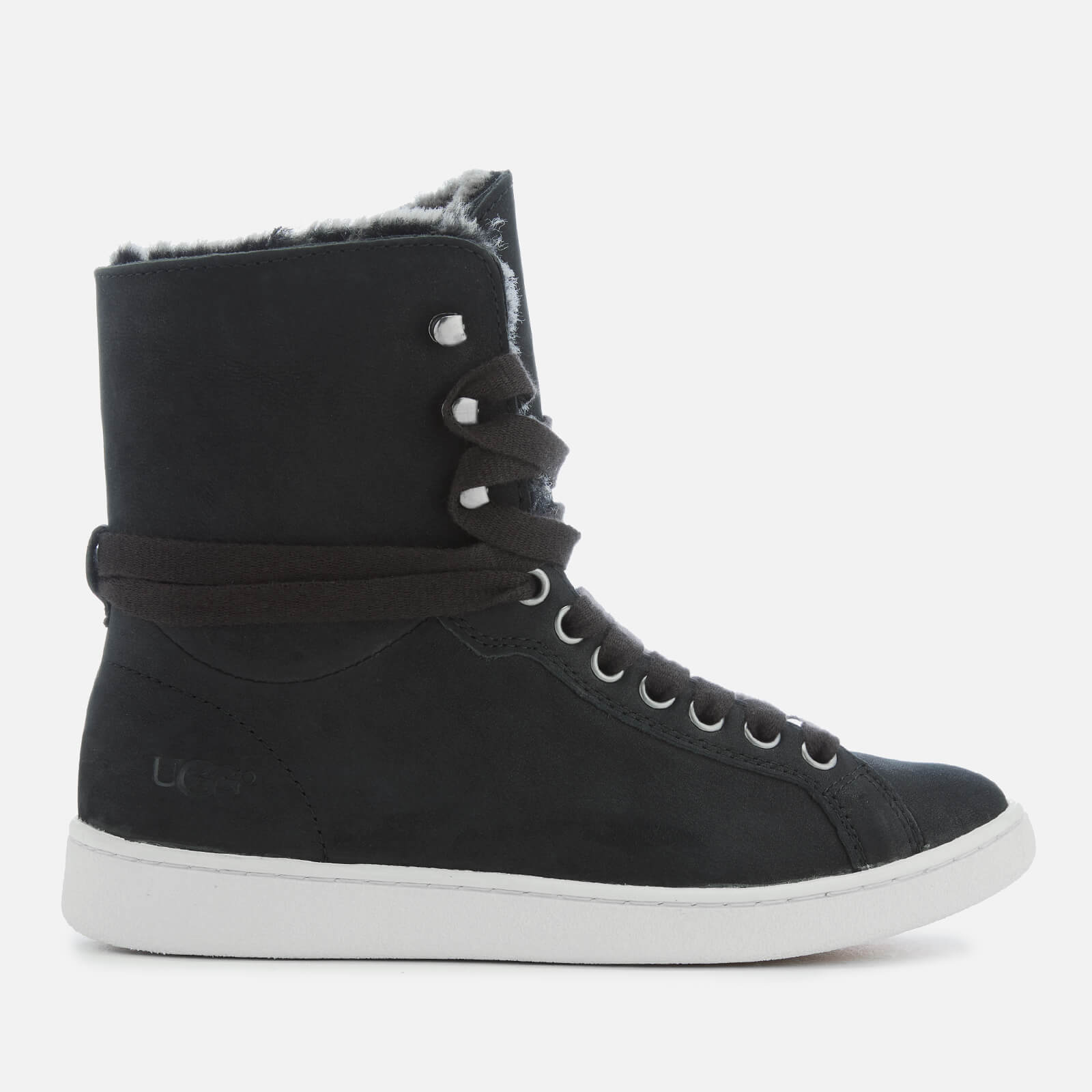 450fa7ee3cc UGG Women's Starlyn Full Grain Leather Fold Over Trainers - Black