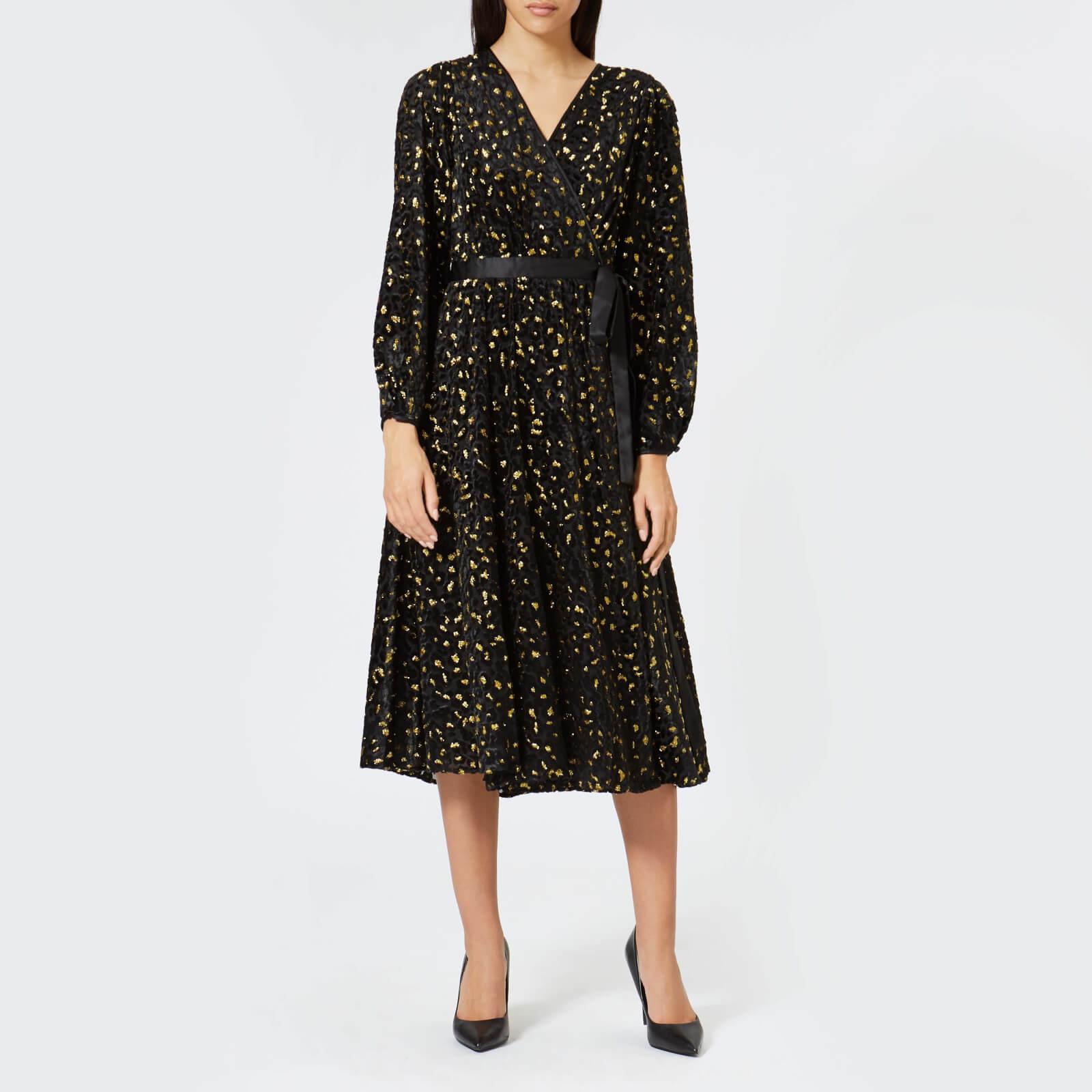 3a54dbc0e5ef3 Diane von Furstenberg Women's Animal Devore Wrap Dress - Black/Gold - Free  UK Delivery over £50