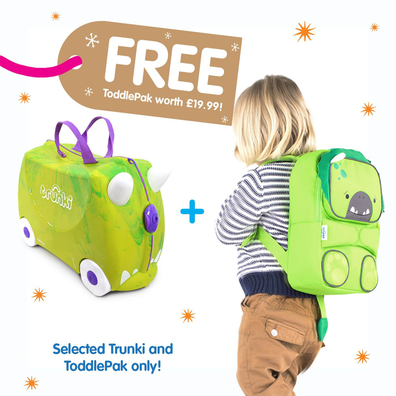 9a420b12797 Trunki Rex the Dino Ride on Case (Includes Free Dino ToddlePak Backpack) |  IWOOT