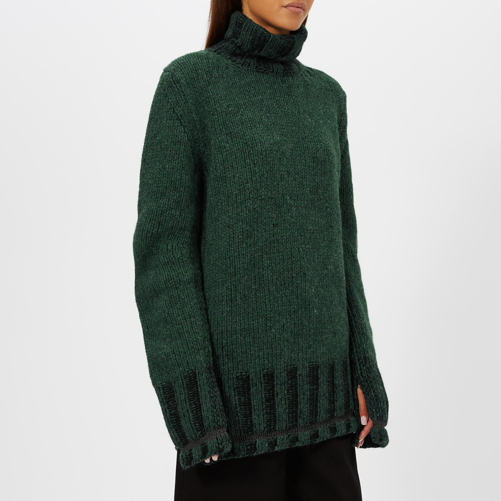 348f51b2053f23 MM6 Maison Margiela Women's Polo Neck Knitted Jumper - Green/Black - Free  UK Delivery over £50