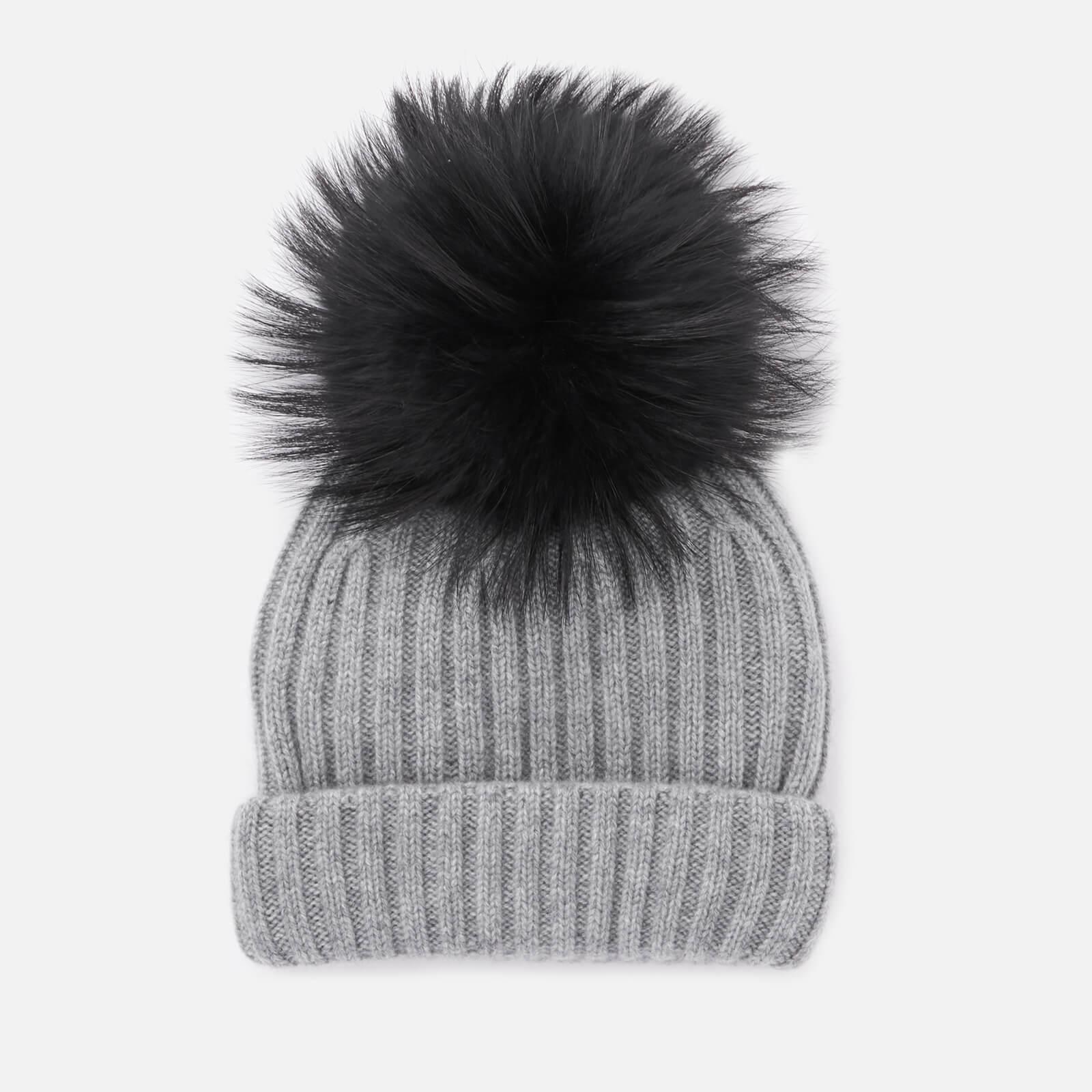 11c7960dcc4 BKLYN Women s Cashmere Pom Pom Hat - Grey Black - Free UK Delivery over £50