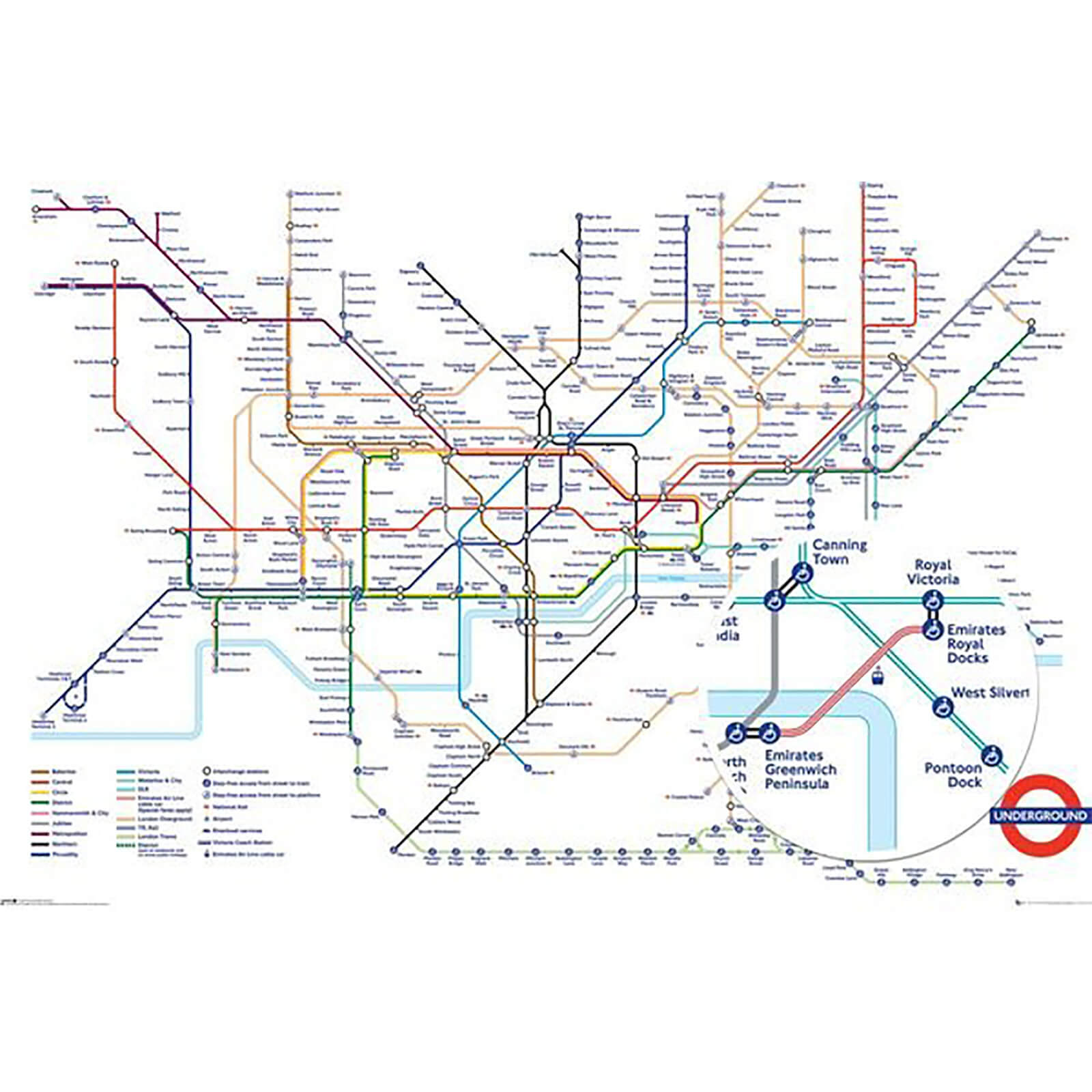 Transport For London Map.Transport For London Underground Map Maxi Poster 61x91 5cm