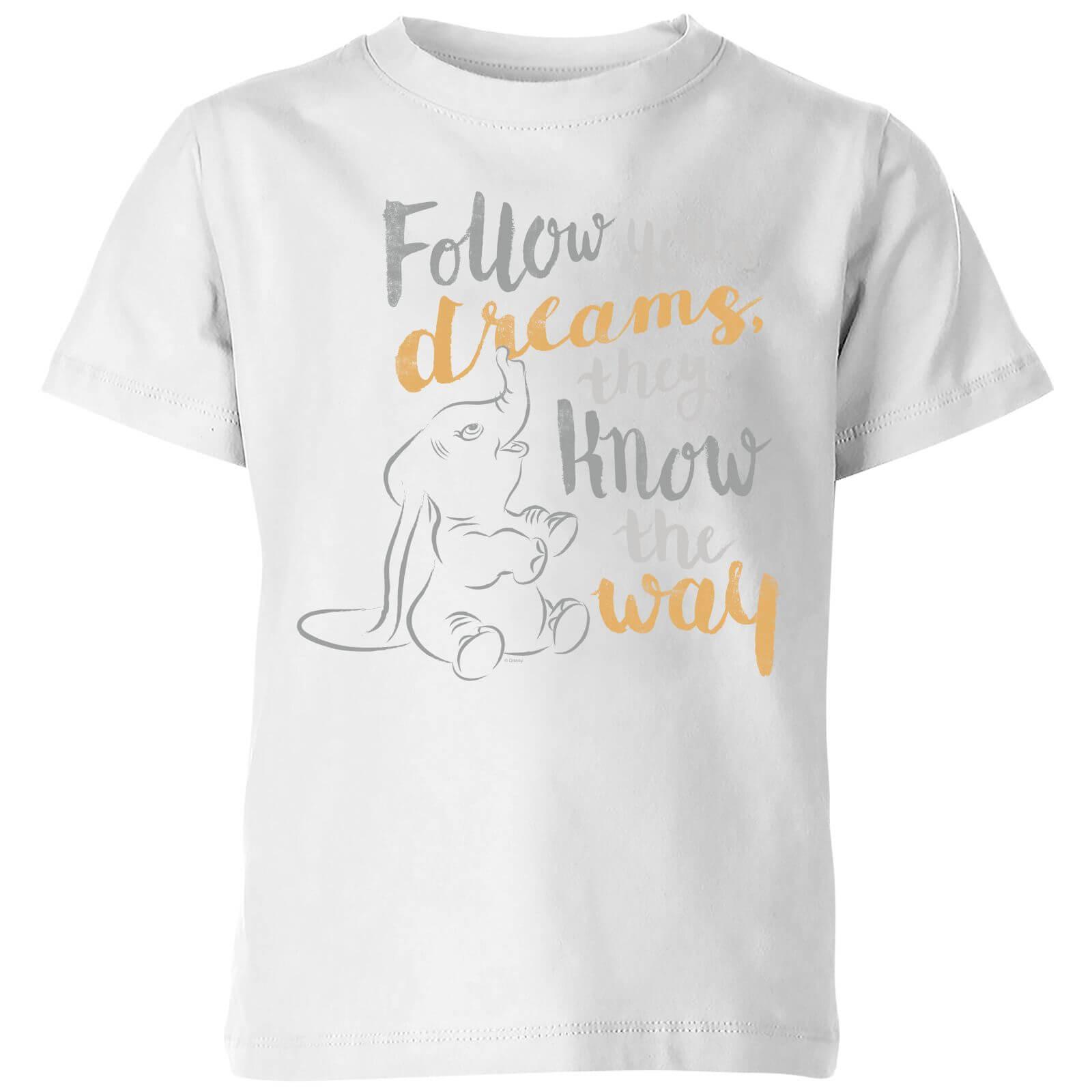 Dumbo Follow Your Dreams Kinder T Shirt Weiß