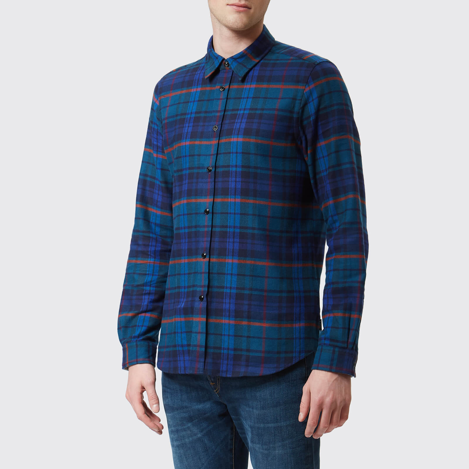 d4425014770923 PS Paul Smith Men's Tailored Fit Long Sleeve Checked Shirt - Blue - Free UK  Delivery over £50