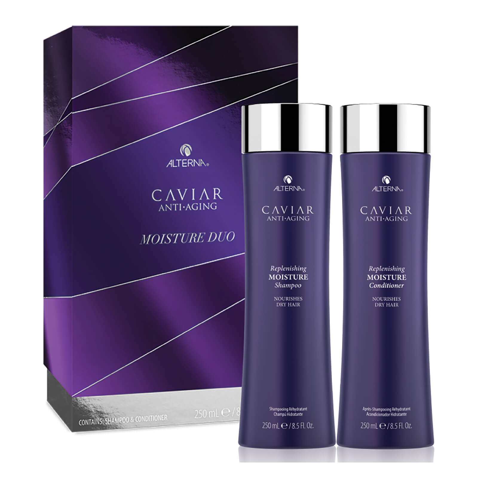 0b3a344cf21 Showing image 0 - null. Description. Alterna Haircare's Caviar Anti-Aging Replenishing  Moisture Duo Gift ...