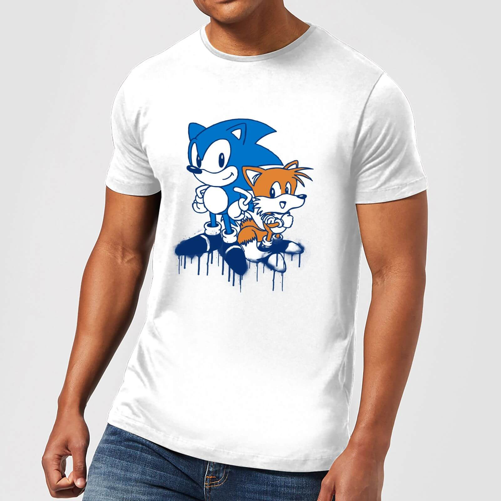 Sonic the hedgehog graffiti mens t shirt white clothing zavvi