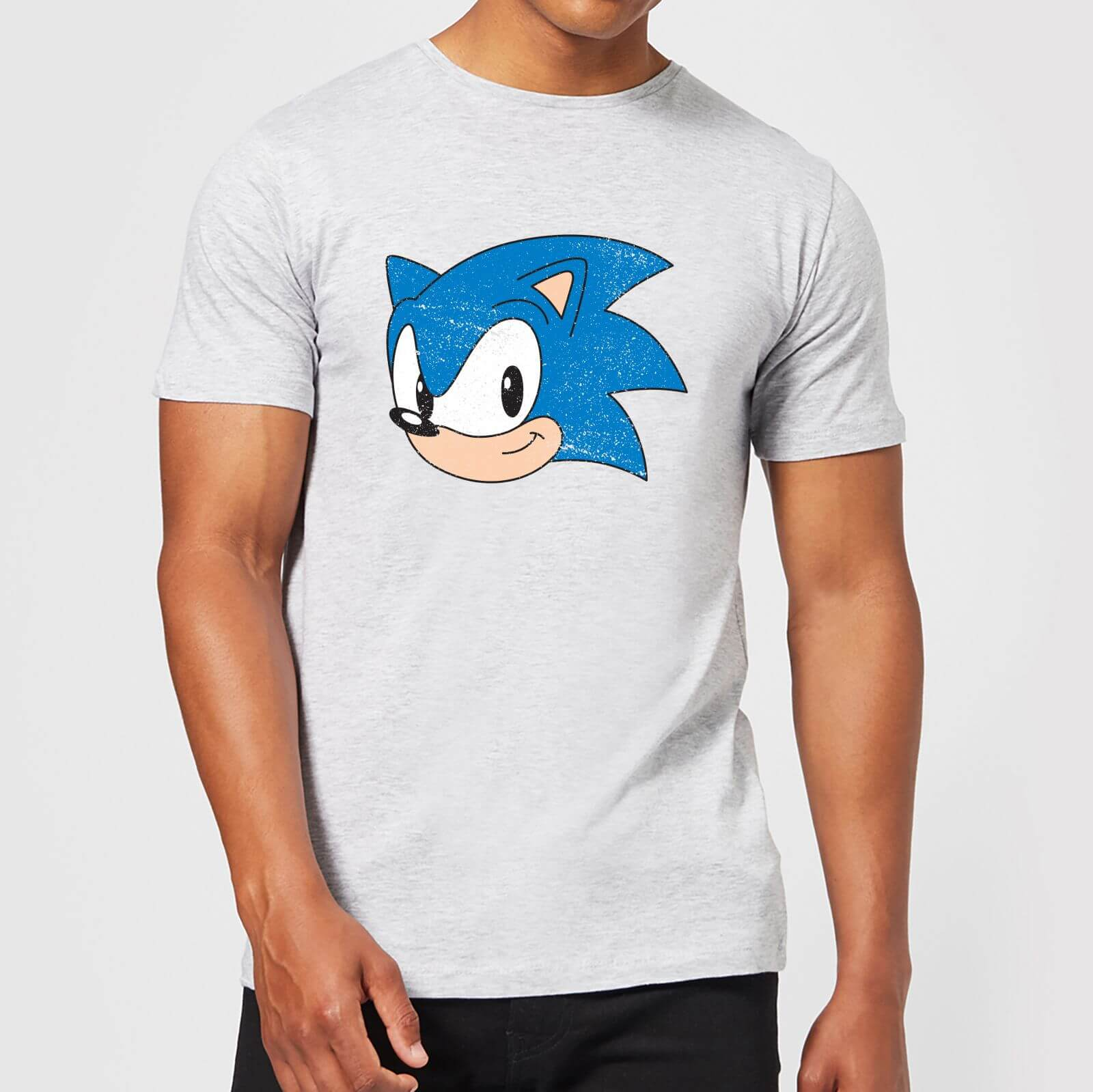 Sonic The Hedgehog Vintage Sonic Face Men S T Shirt Grey Clothing