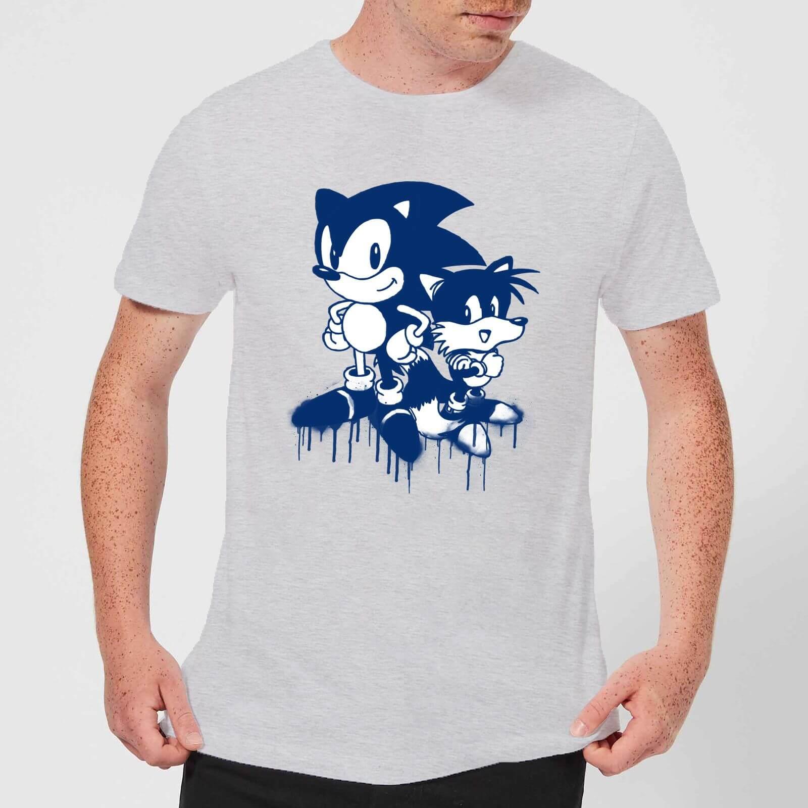 Sonic the hedgehog graffiti mens t shirt grey clothing zavvi