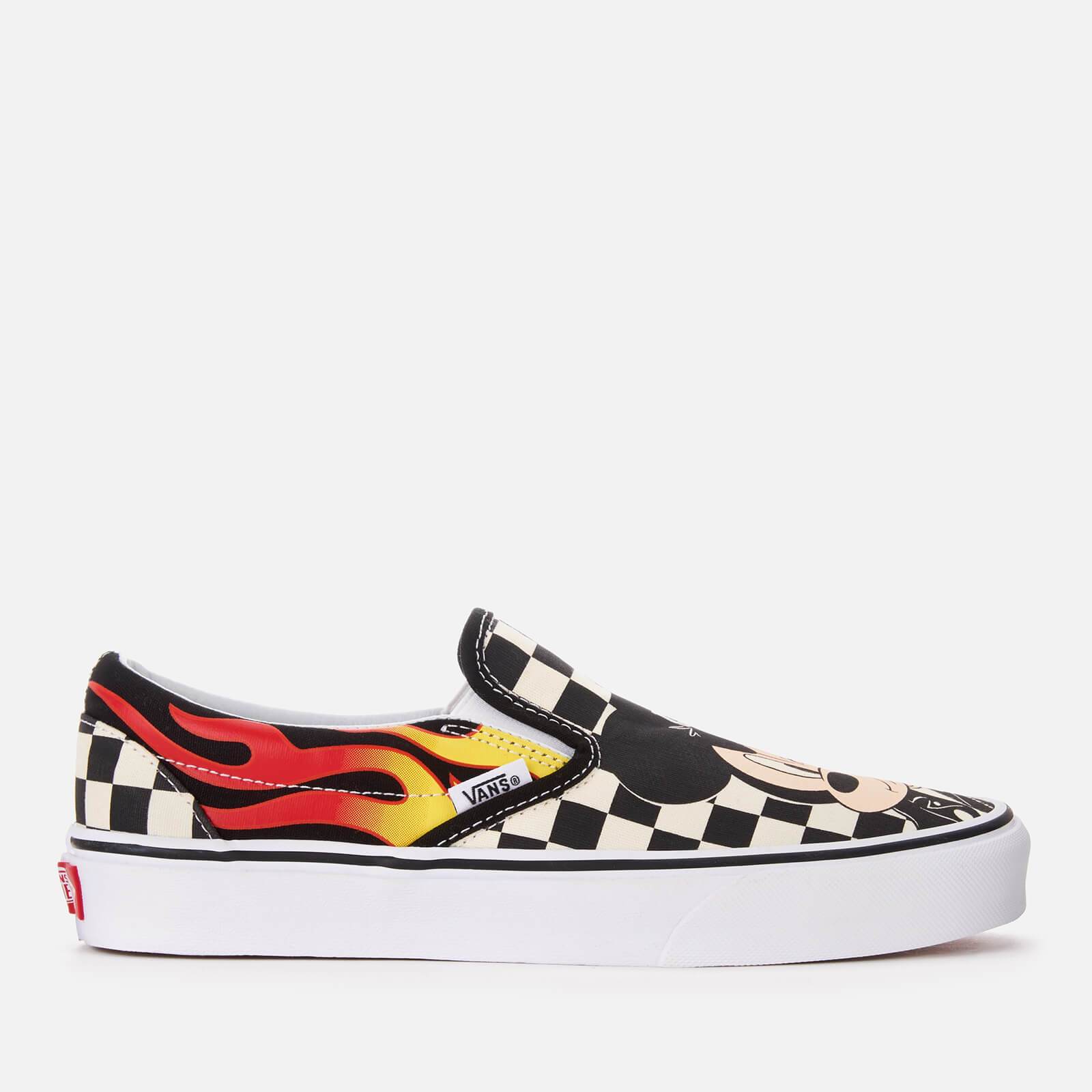 f717e9c42f Vans Women s Disney Mickey   Minnie Classic Slip-On Trainers - Checker Flame  Womens Footwear