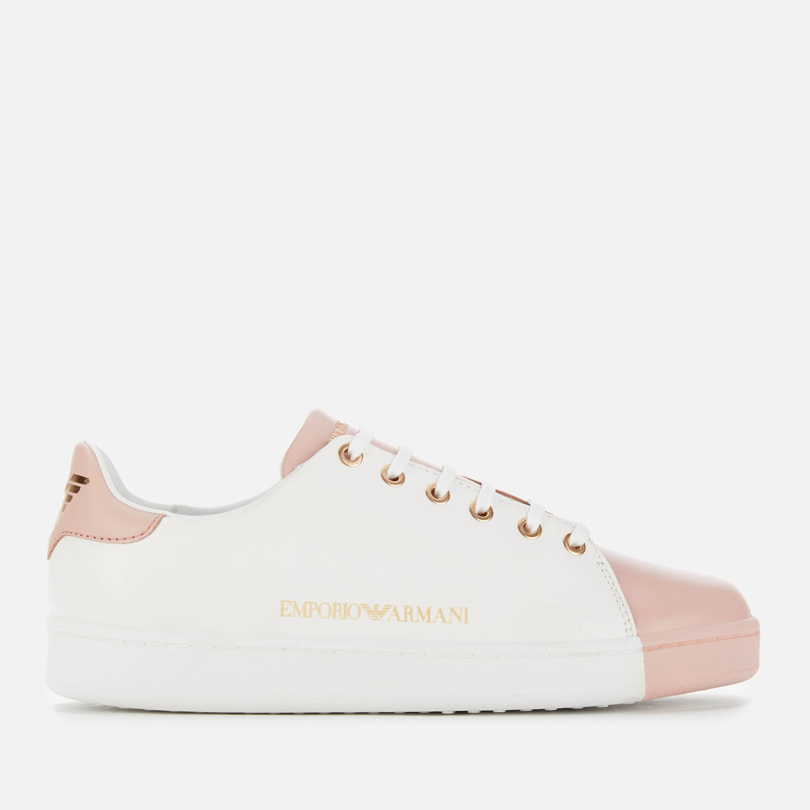 Emporio Armani Women's Serena Leather Low Top Trainers - White/Rose
