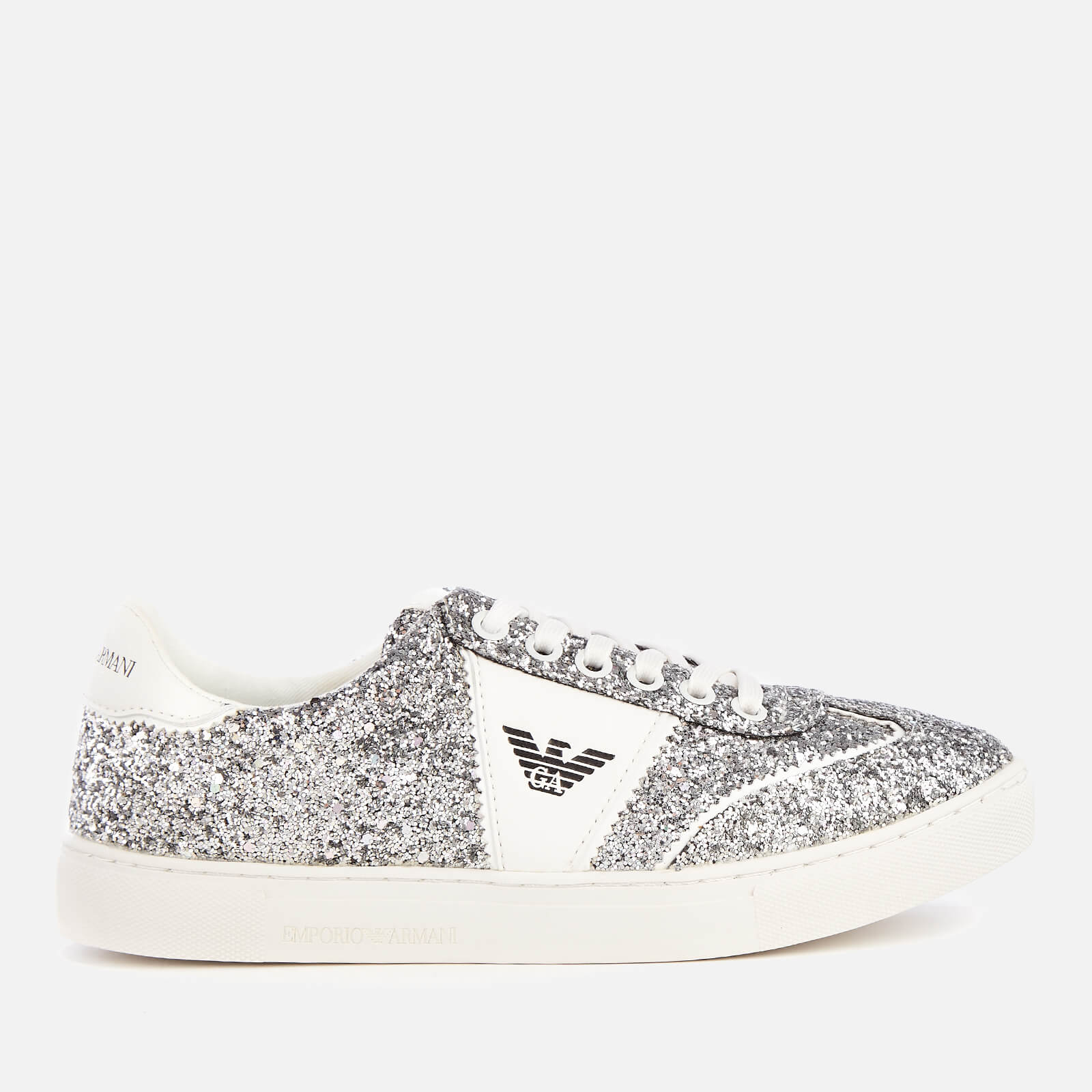 Emporio Armani Women's Biz Glitter Low Top Trainers - Silver/White - UK 7 - Silver/White