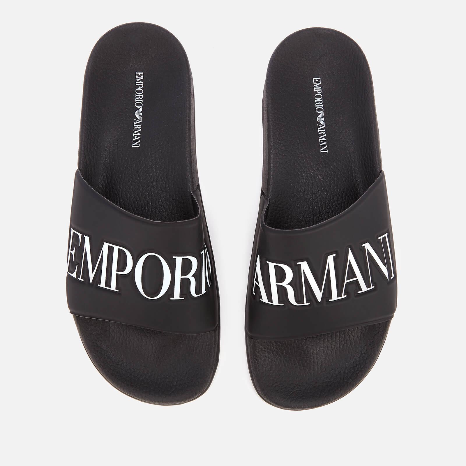 dea1d8cf7 Emporio Armani Men's Zadar Slide Sandals - Black/White - Free UK Delivery  over £50