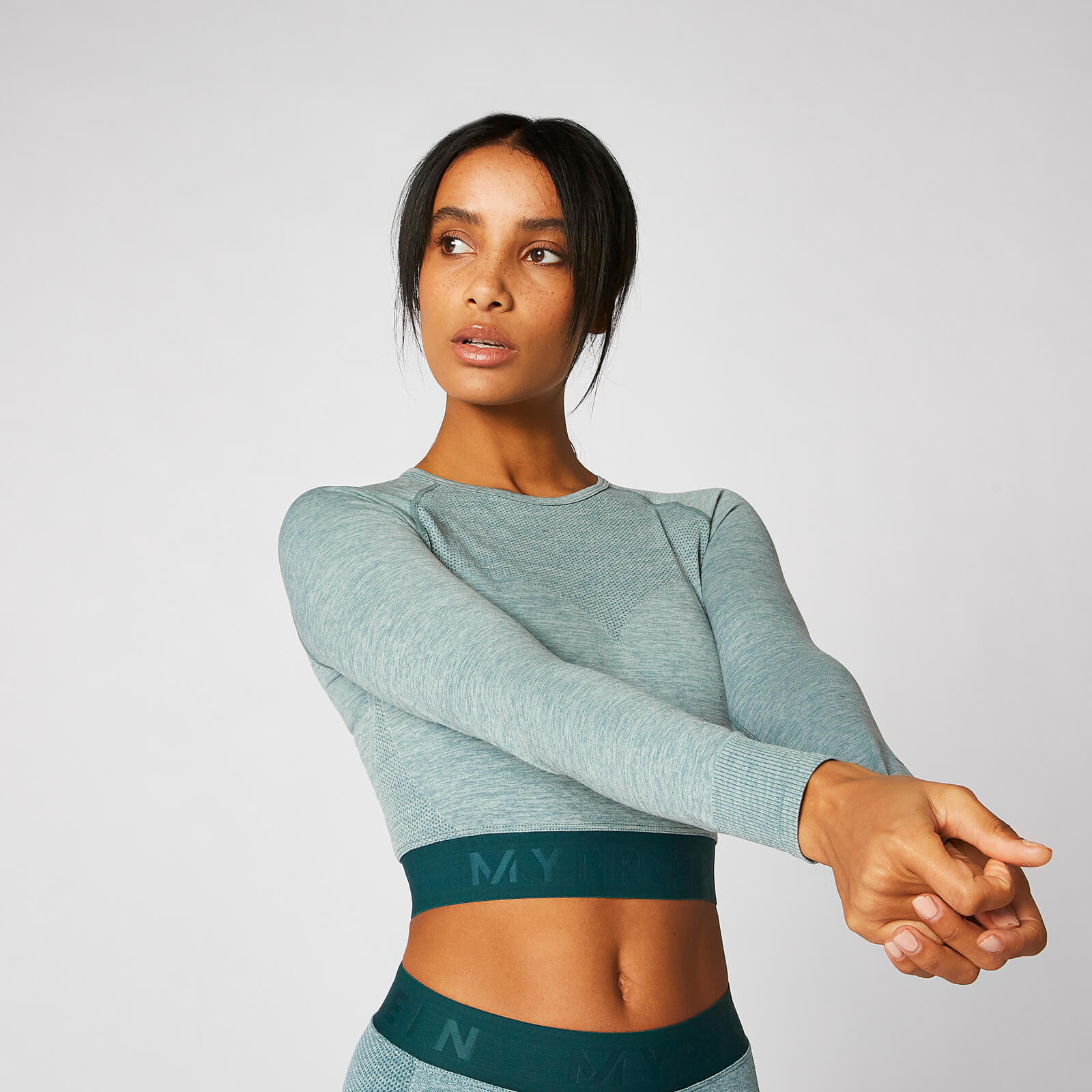 03a7fe118eed54 ... Inspire Seamless Crop Top - Teal - XS - Teal