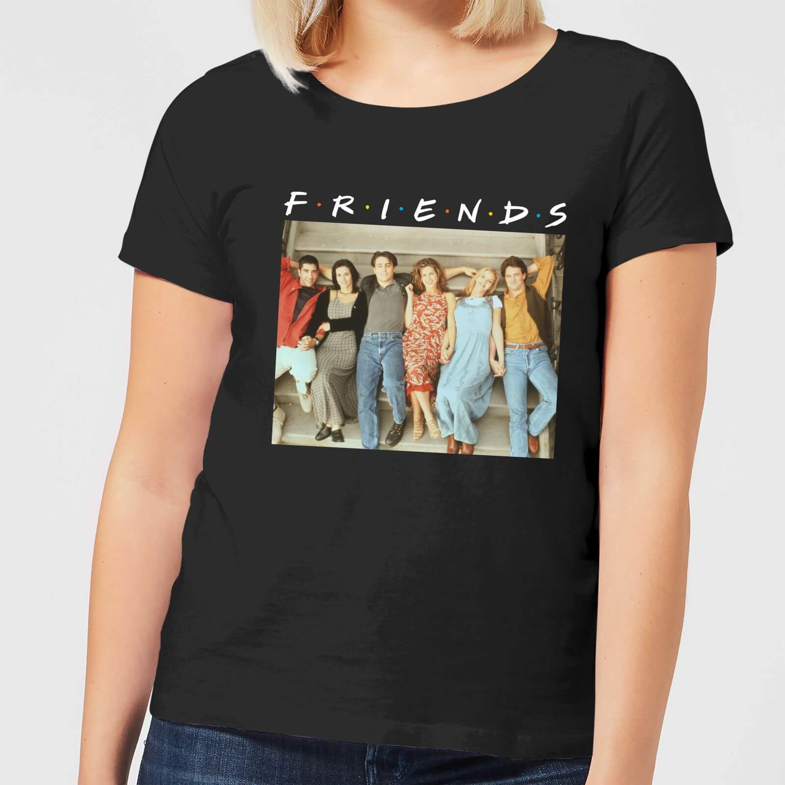 b8c6bb6f1 Friends Retro Character Shot Women's T-Shirt - Black | IWOOT