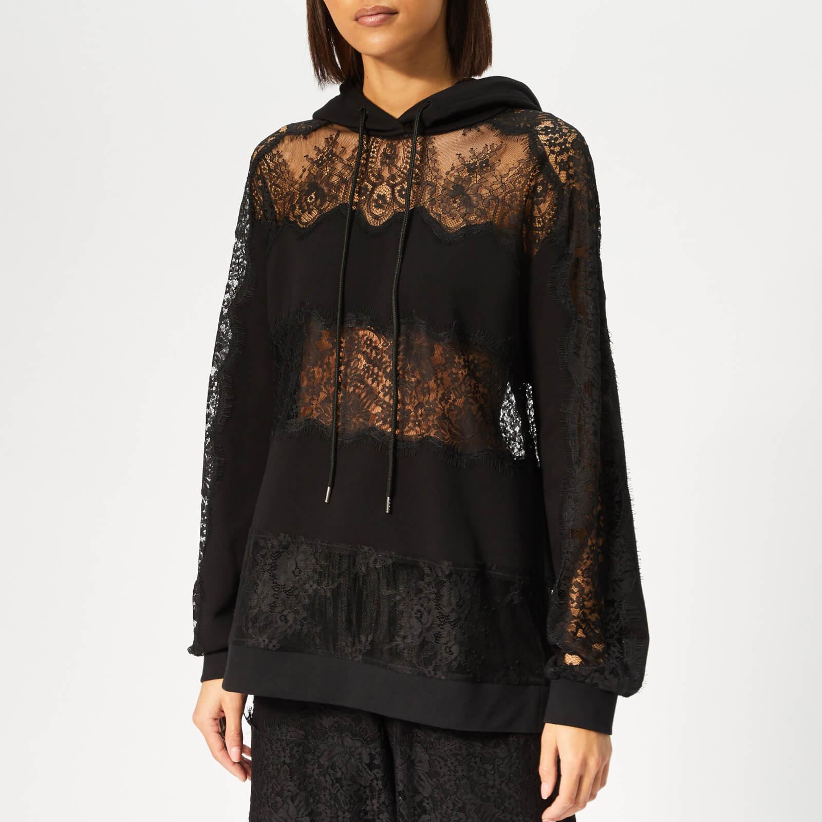 88091f70 McQ Alexander McQueen Women's Lace Stripe Hoody - Darkest Black - Free UK  Delivery over £50