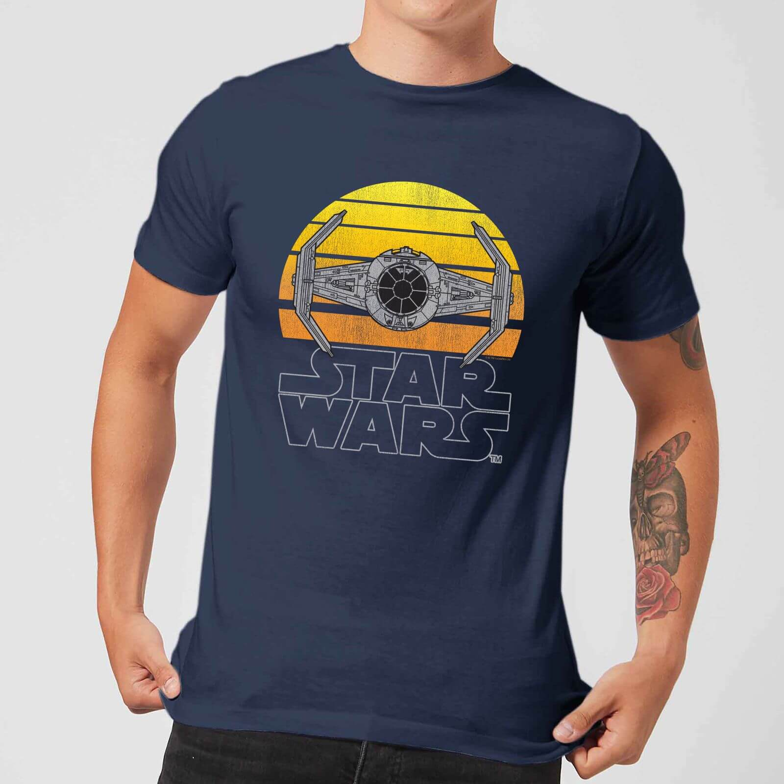 Star Wars Classic Sunset Tie Herren T Shirt Navy Blau