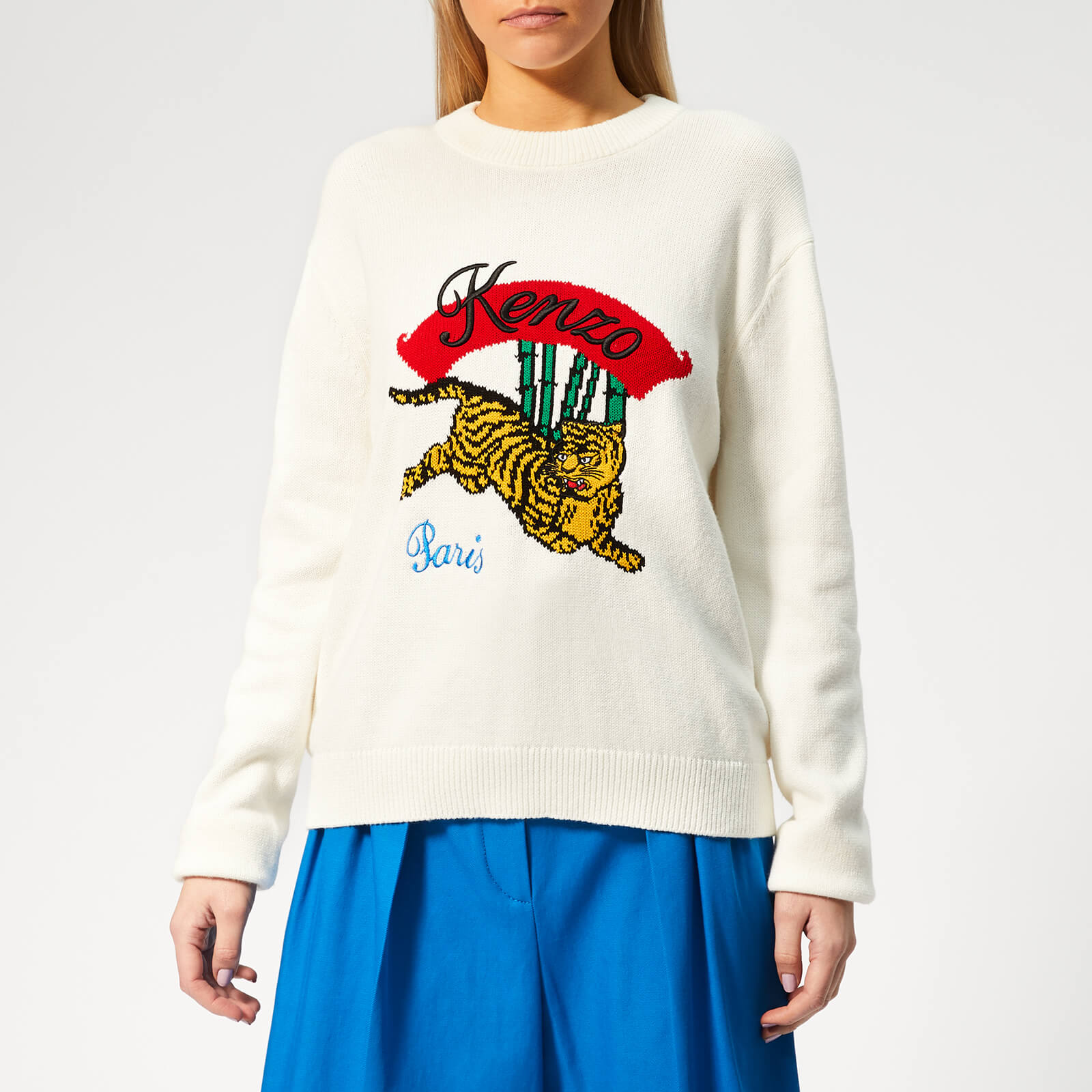 6b0eb8a3d KENZO Women's KENZO Jumping Tiger Jumper - White - Free UK Delivery over £50