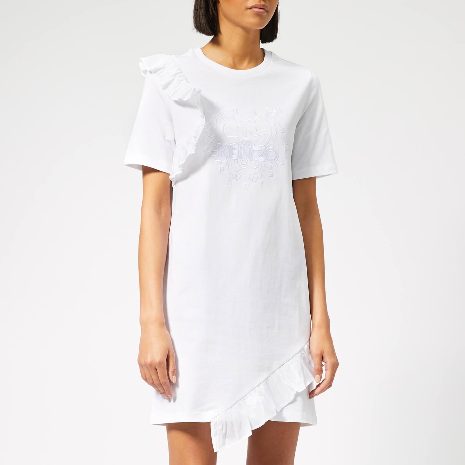 813f0fb75c8f KENZO Women's Tiger T-Shirt Dress with Ruffle - White - Free UK ...