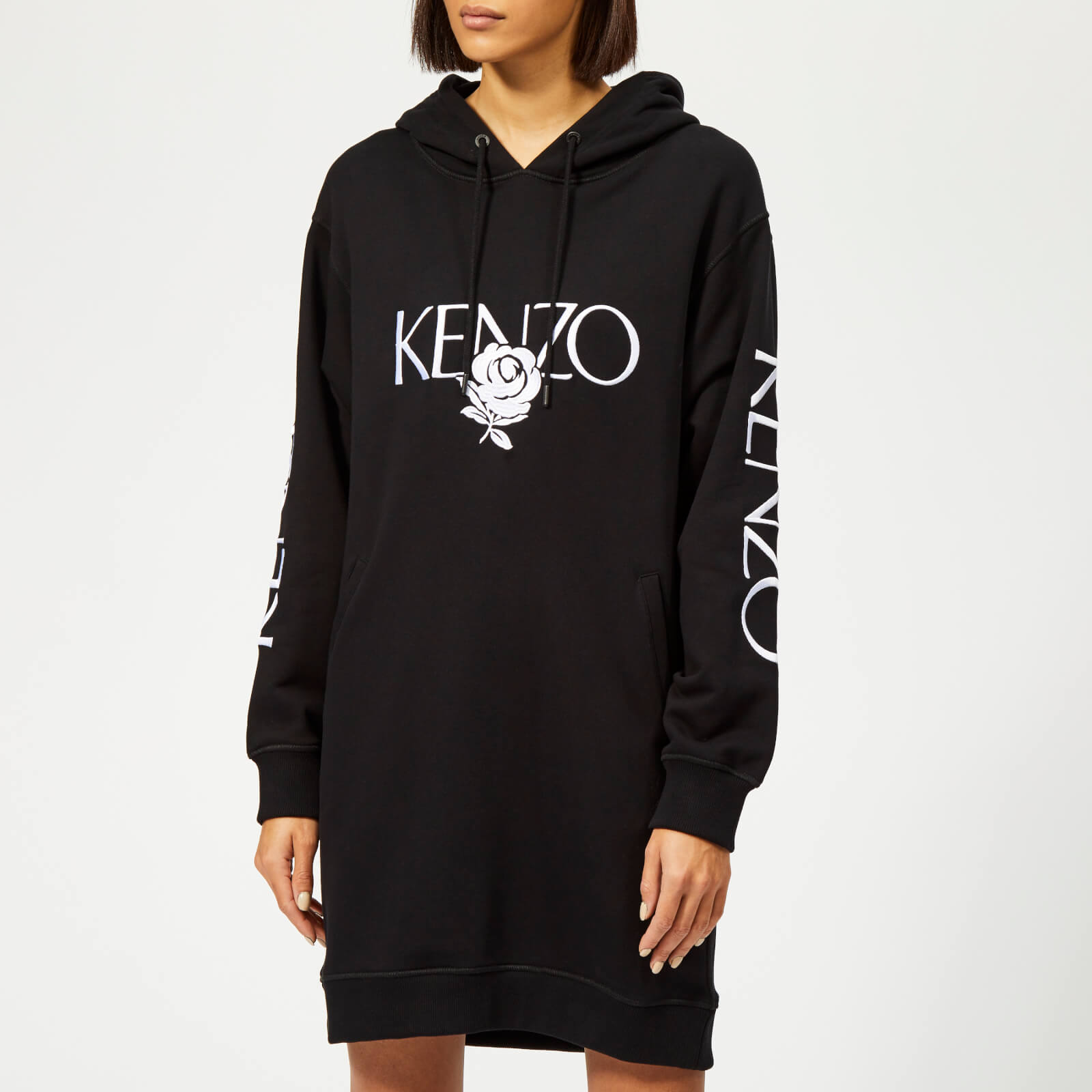 270b9e264 KENZO Women's Logo Hooded Sweatshirt Dress - Black - Free UK Delivery over  £50