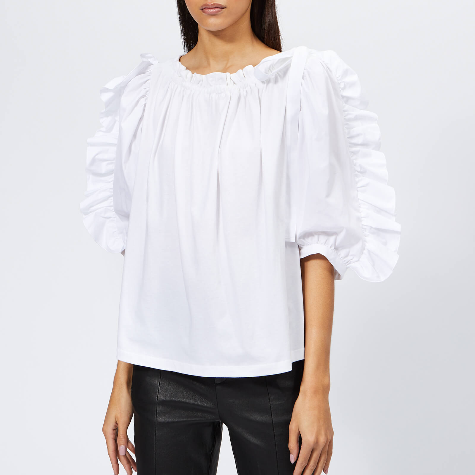 2c0dab9f4c See By Chloé Women's Frill Sleeve Top - White Powder
